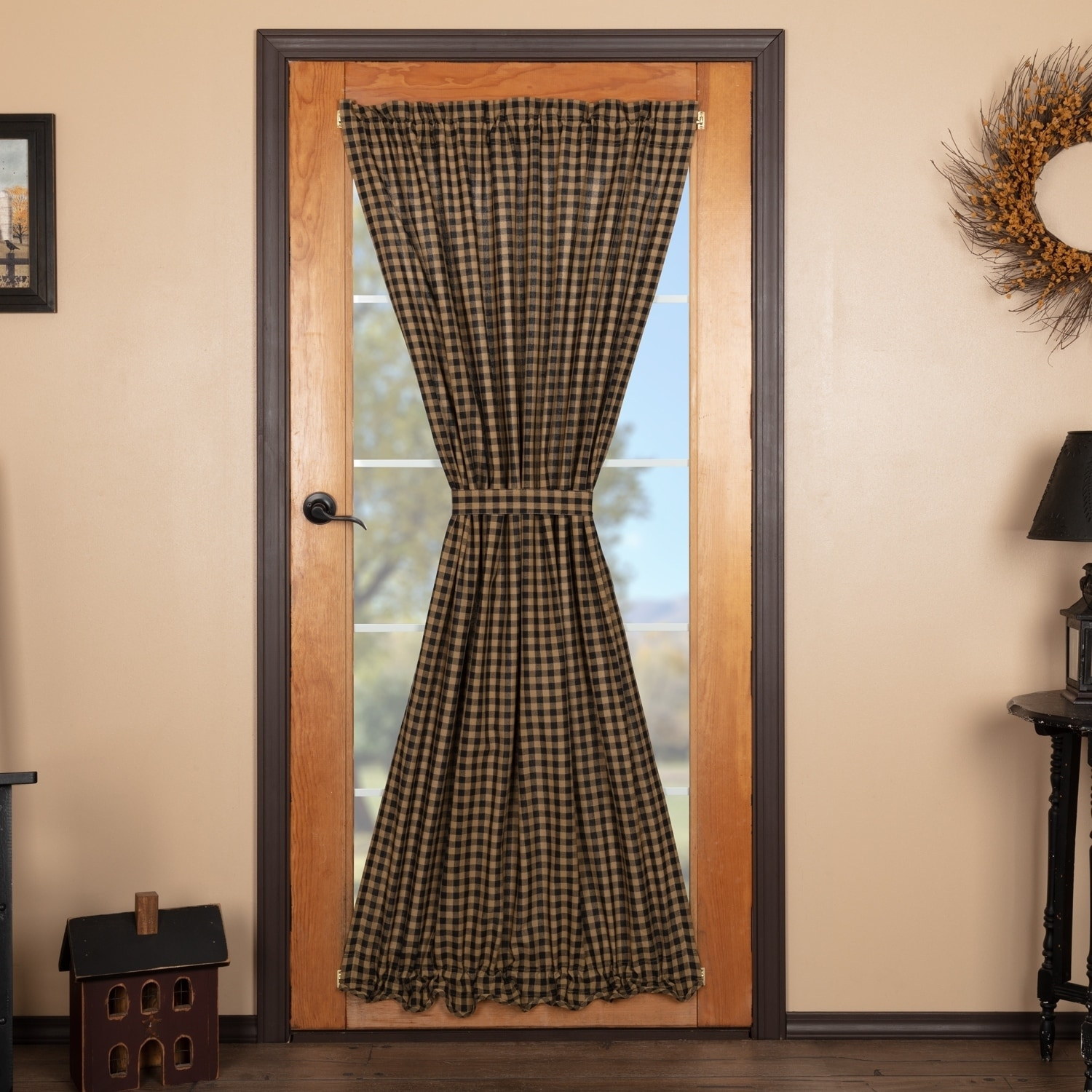Door Privacy Curtain Vhc Brands Black And Tan Cotton Door Curtain