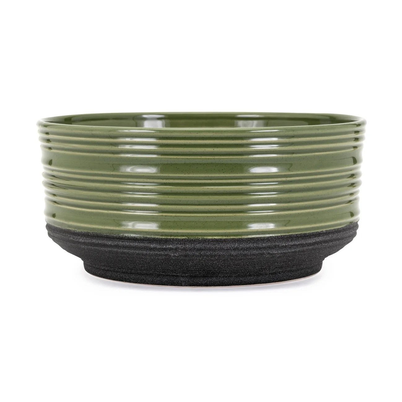 Plante En Pot Ceramic Planter Pot With Banded Surface Texture Green And Black