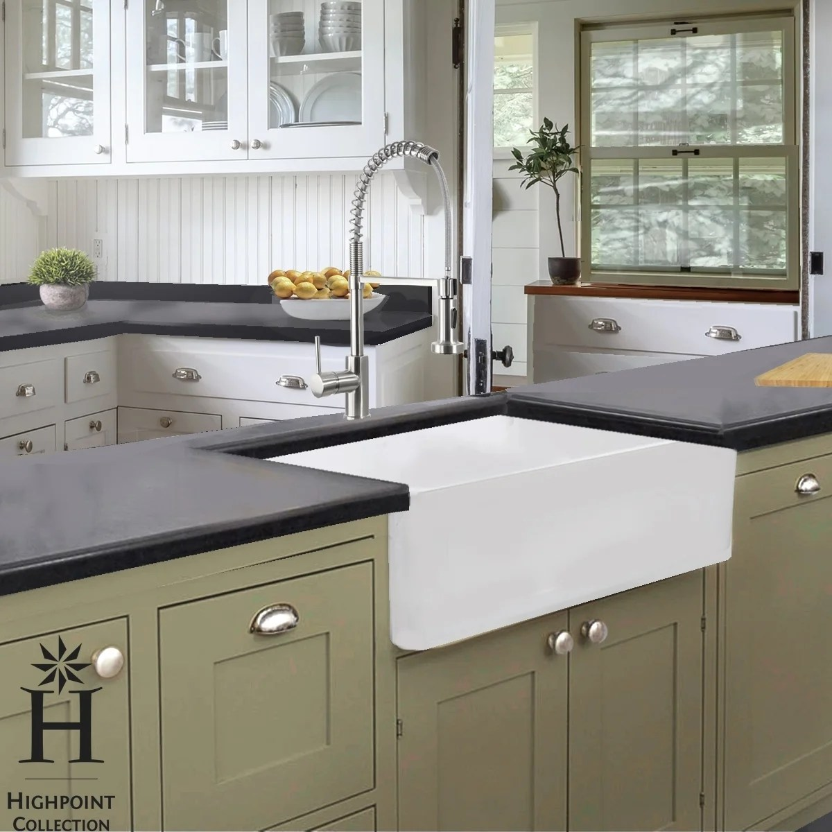 Kitchen Sink For 18 Cabinet Highpoint Collection 36 Inch Solid Reversible Farmsink Farmhouse Sink 36 X 18 X 9 65