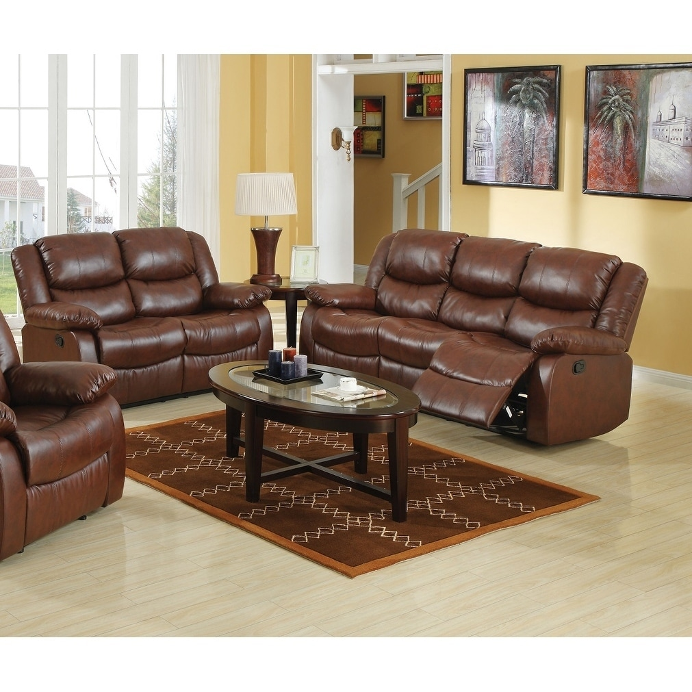 Brown Sofa And Loveseat Sets Berovo Motion Sofa Loveseat Set In Brown Bonded Leather Match