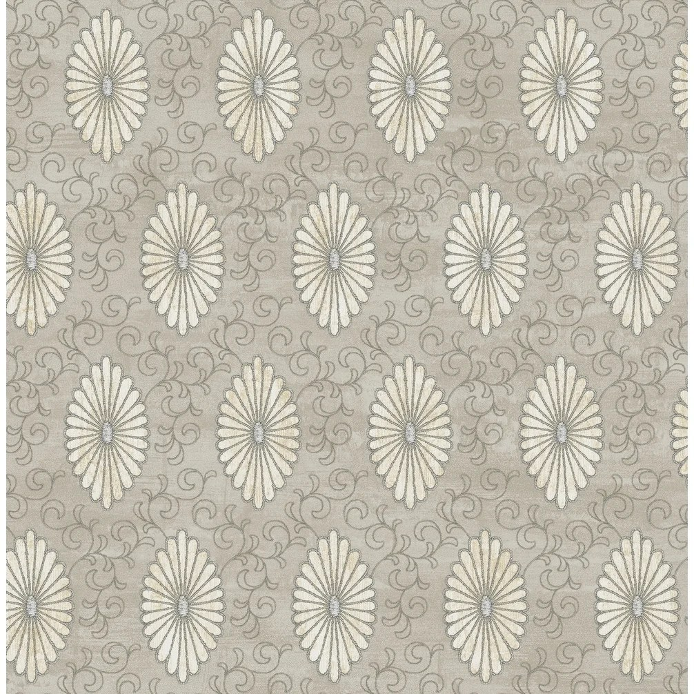 Metallic Gold Wallpaper Palladium Medallion Wallpaper In Metallic Gold Light Walnut