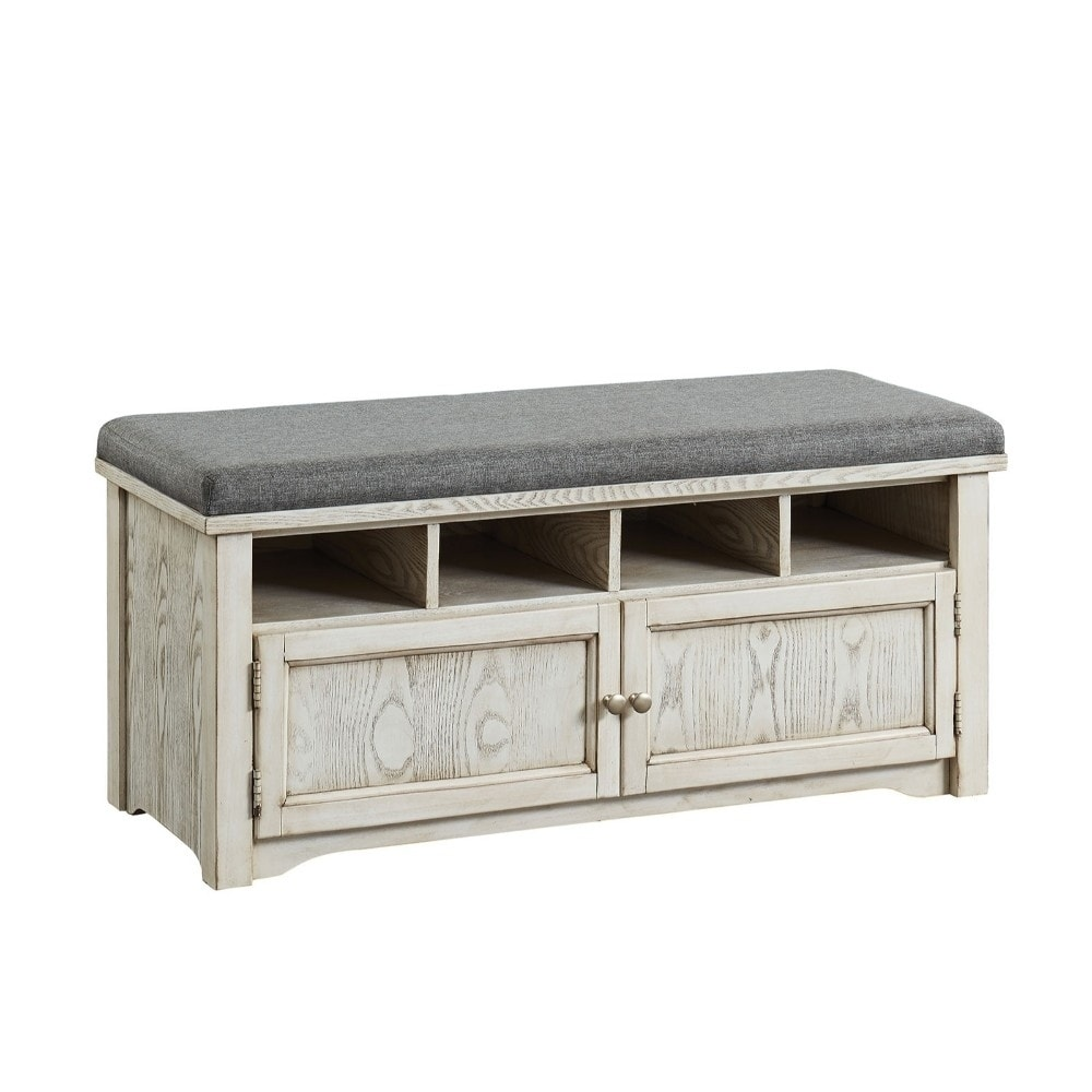 Wooden Storage Bench White Wood Storage Shoe Bench With Grey Linen Cushion
