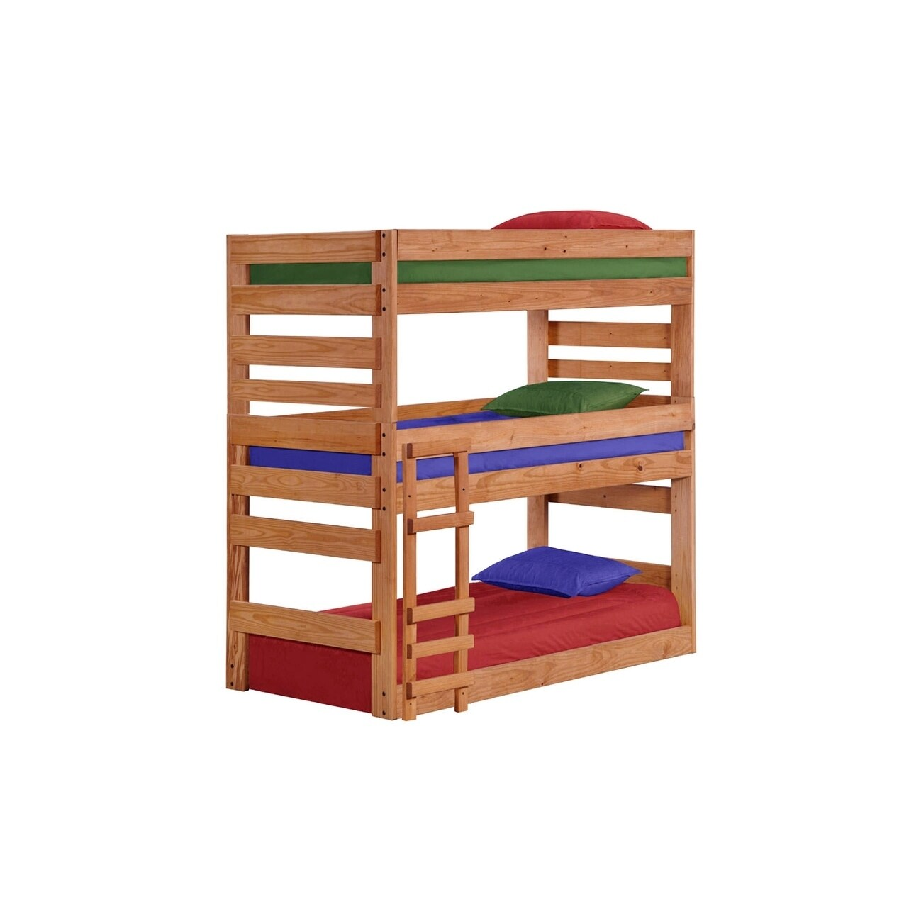 Stackable Twin Beds Ginger Stain Twin Xl Stackable Triple Bunk Bed With Queen Rails