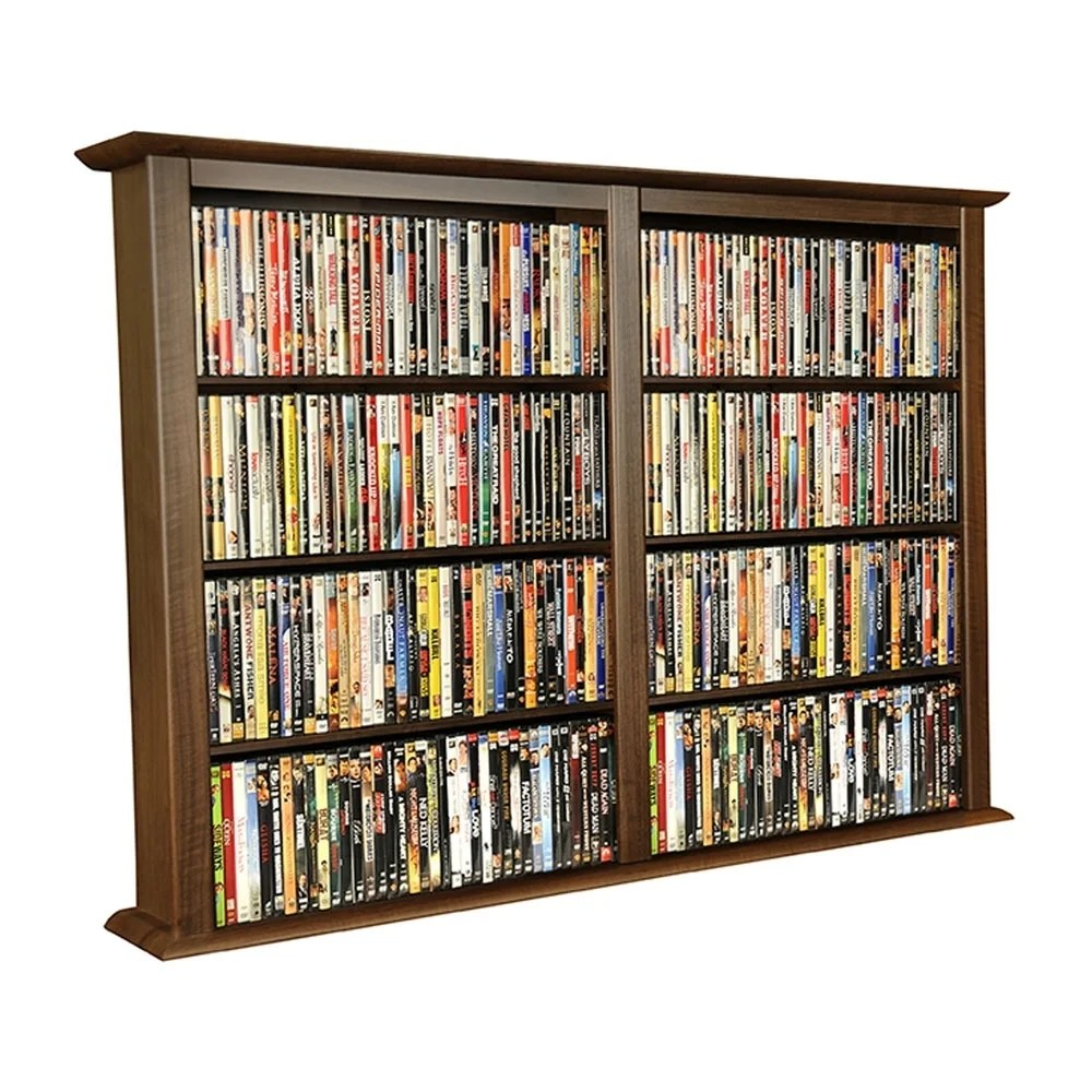 In Wall Media Cabinet Venture Horizon Double Wall Mounted Media Storage Cabinet Walnut
