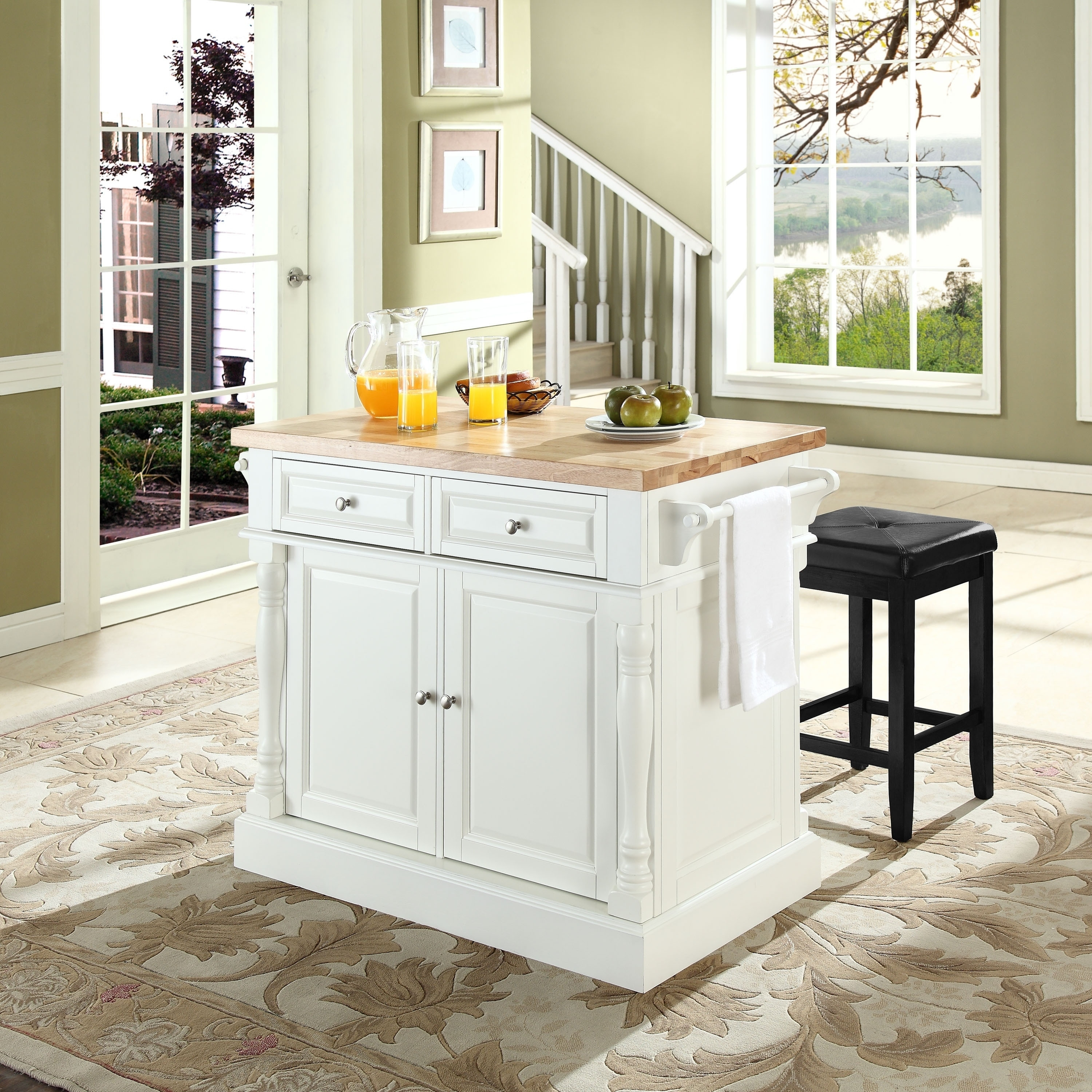 Stools Kitchen Islands Oxford Butcher Block Top Kitchen Island In White Finish With Stools