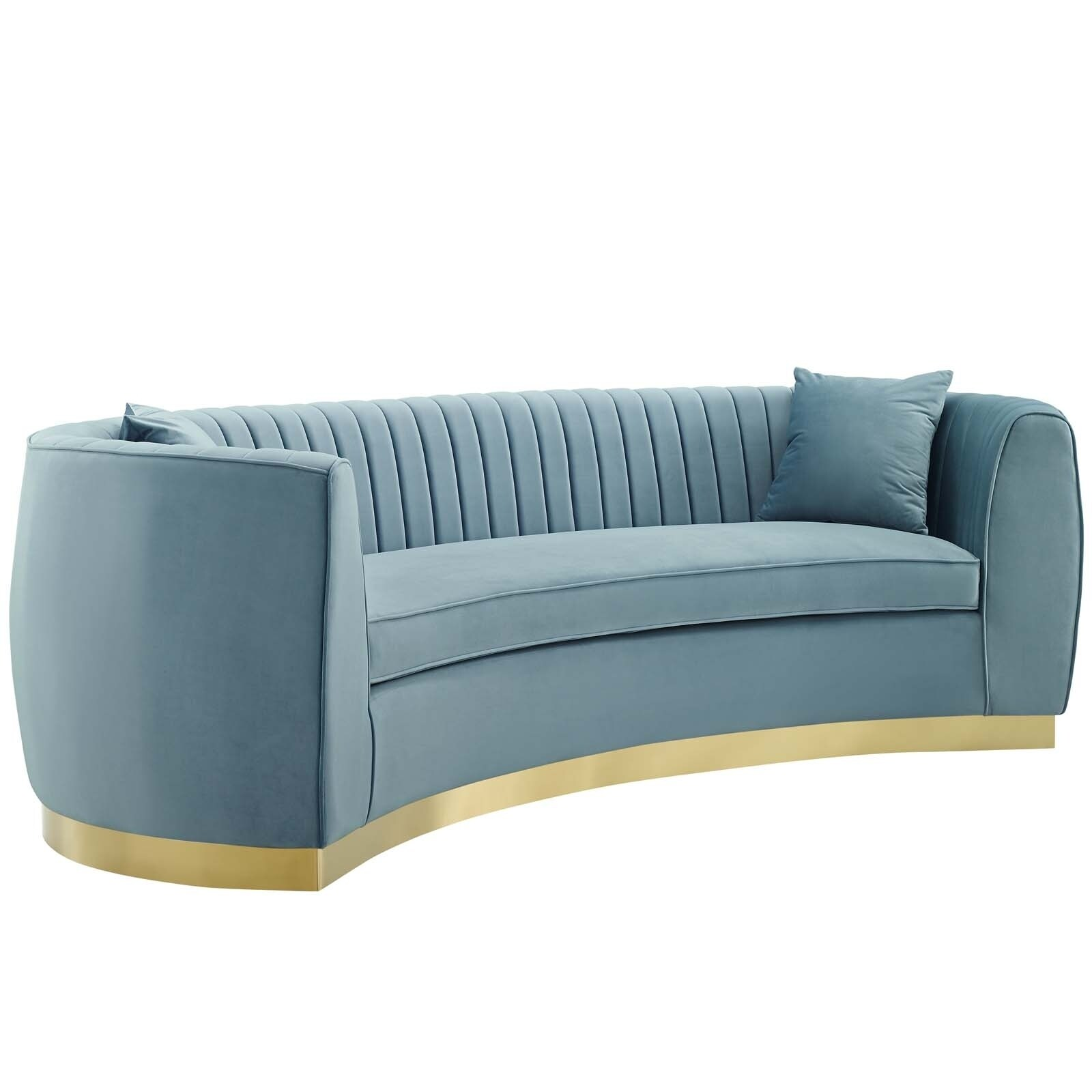 Curved Sofa Silver Orchid Perez Velvet Channel Tufted Curved Sofa