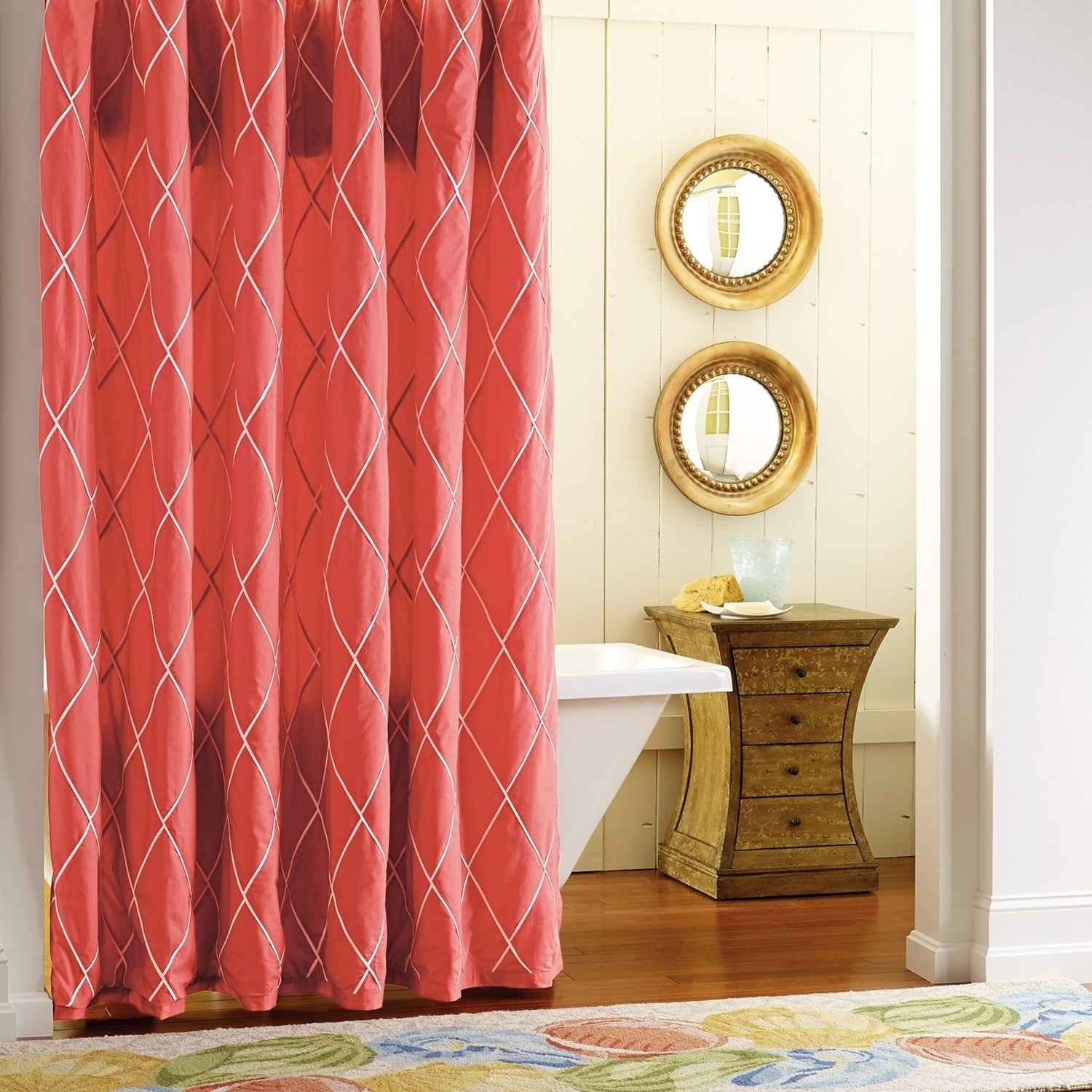 Red And Brown Shower Curtain Sofia Newport Red Shower Curtain