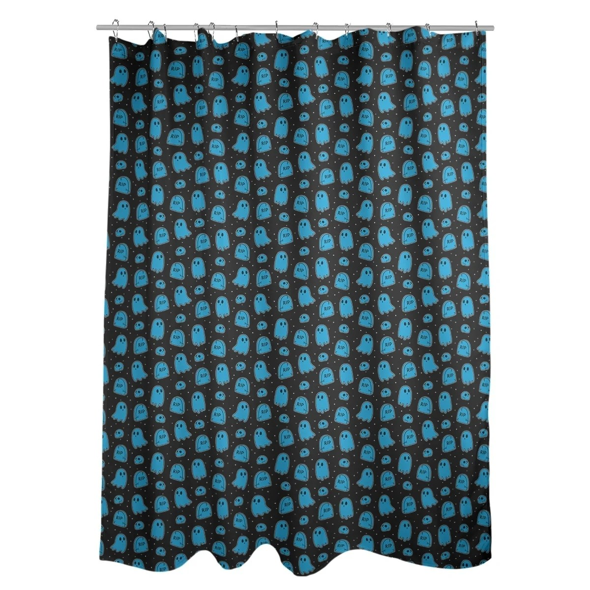 Black And Blue Curtains Katelyn Elizabeth Black Blue Ghost Pattern Shower Curtain