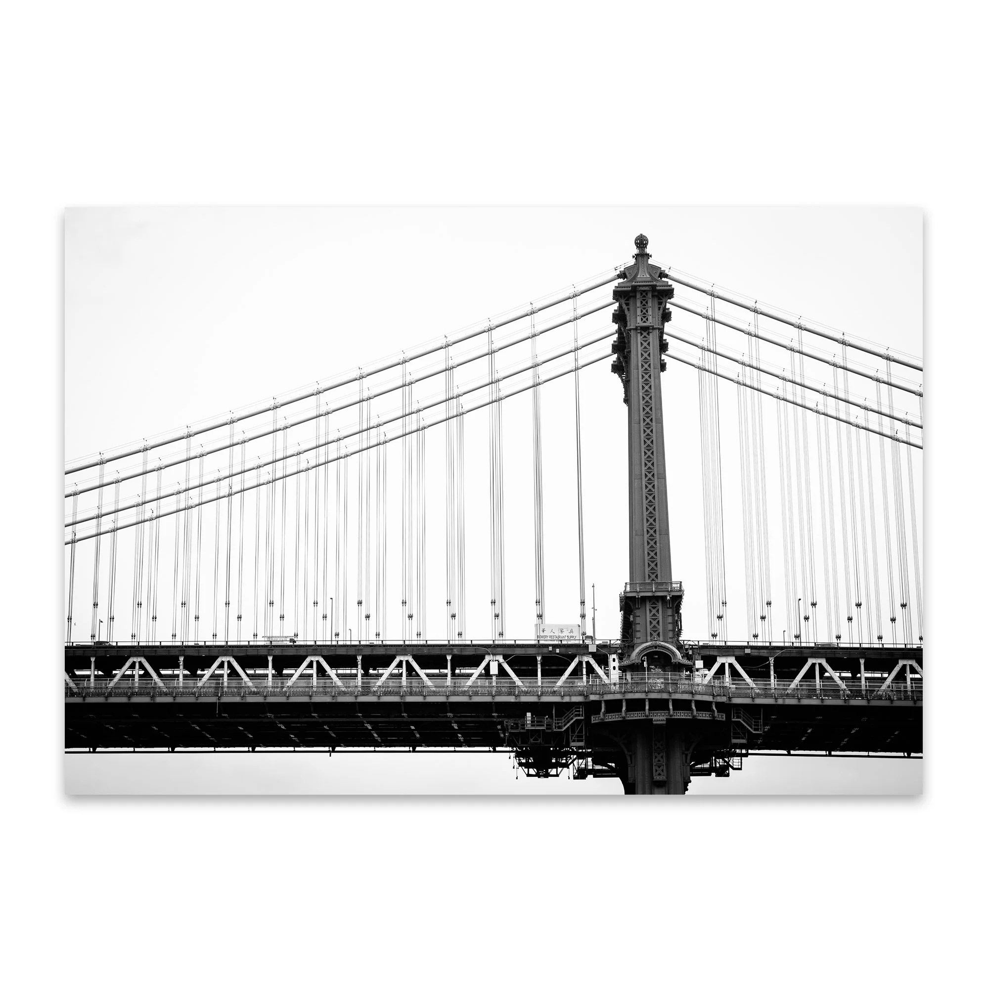 Suspension Noir Metal Noir Gallery Manhattan Bridge New York City Metal Wall Art Print