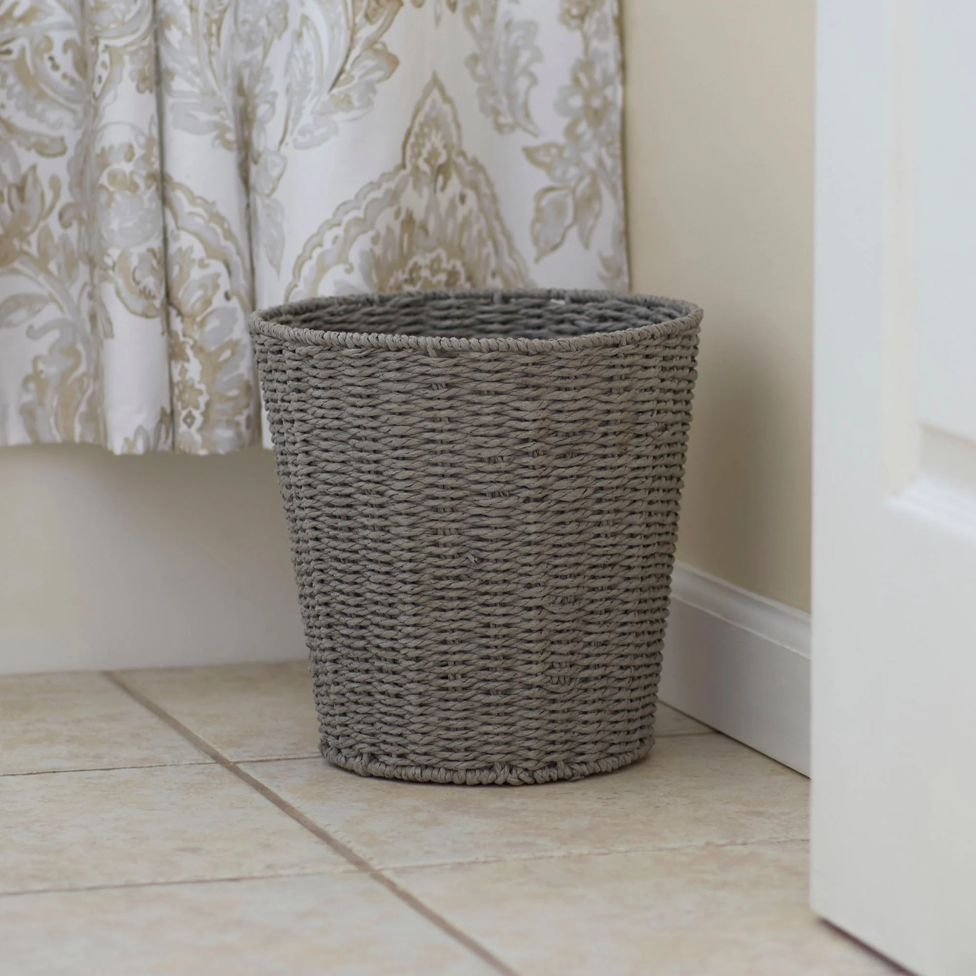 Laundry Trash Cans Household Essentials Grey Paper Rope Waste Basket Trash Bin