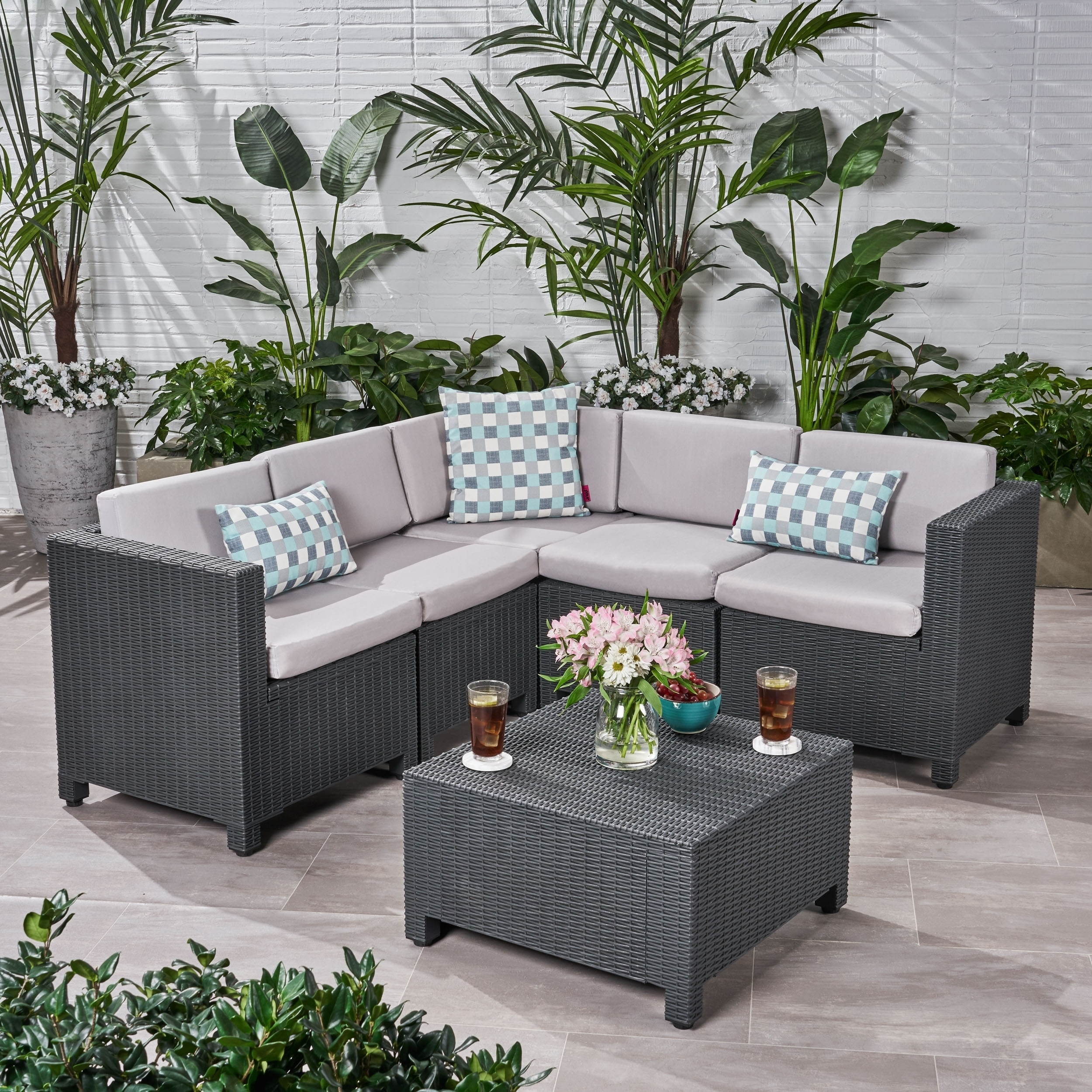 Rattan Twin Sofa Waverly Outdoor 5 Seater Faux Wicker Sectional Sofa Set With Cushions By Christopher Knight Home