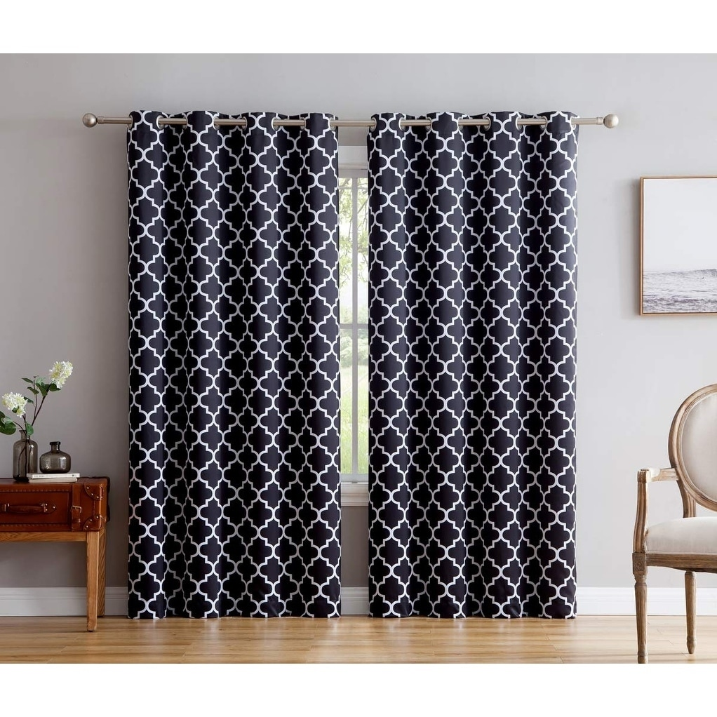 Privacy Curtain For Bedroom Lattice Print Decorative Blackout Thermal Privacy Room Darkening Grommet Window Drapes Curtain Panels Bedroom Set Of 2