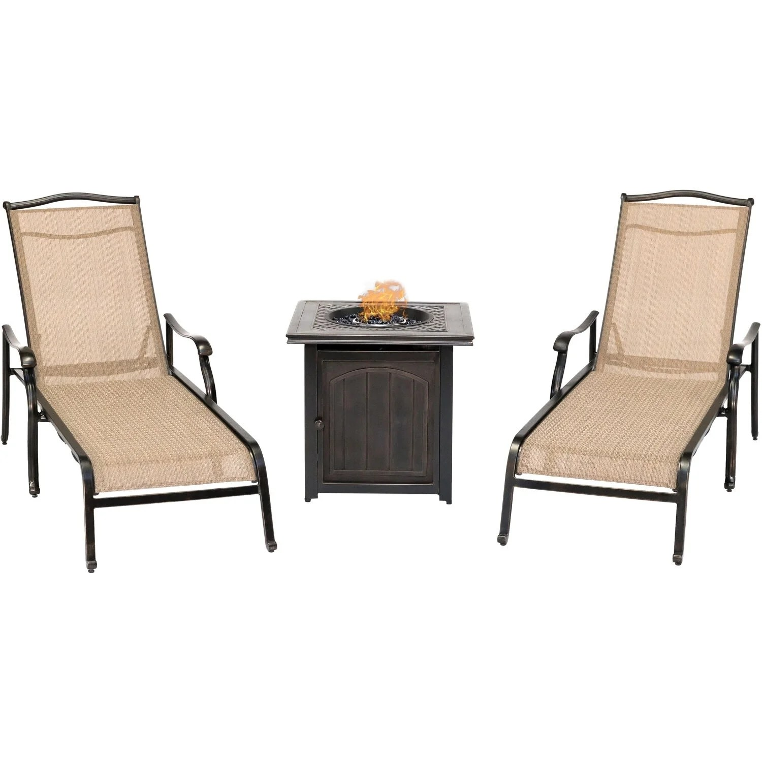 Table 2 Chaises Hanover Monaco 3 Piece Fire Pit Lounge Set With 2 Chaise Lounges And A 26 In Square Fire Pit Side Table