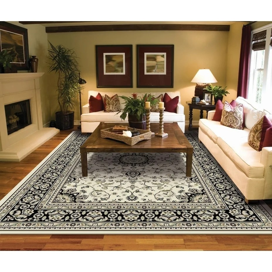 Modern Living Room Persian Rug Copper Grove Savonlinna Ivory And Grey Bordered Persian Area Rug