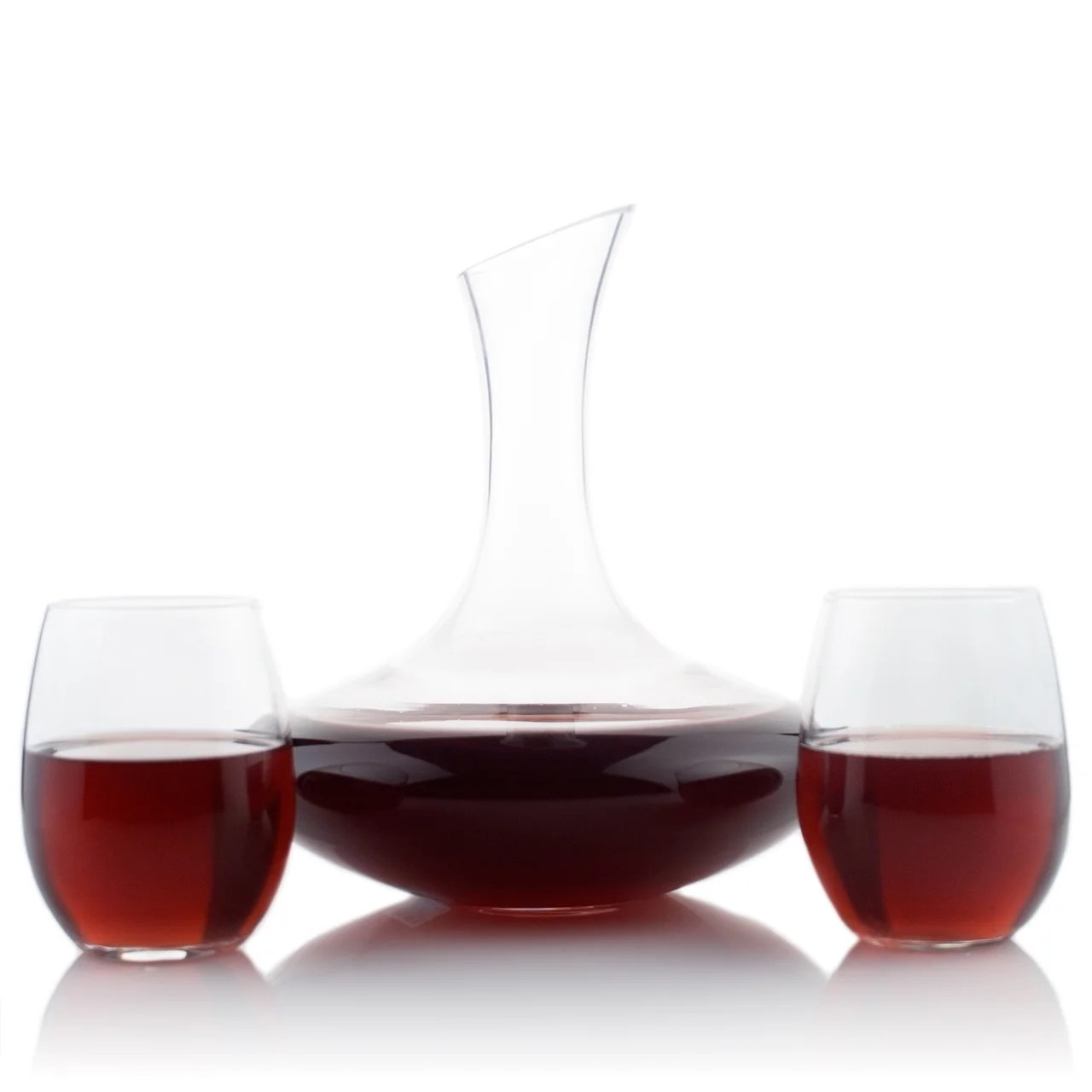 Decanter Wine Glas Slanted Top Glass Wine Decanter With 15oz Stemless Wine Glass Set