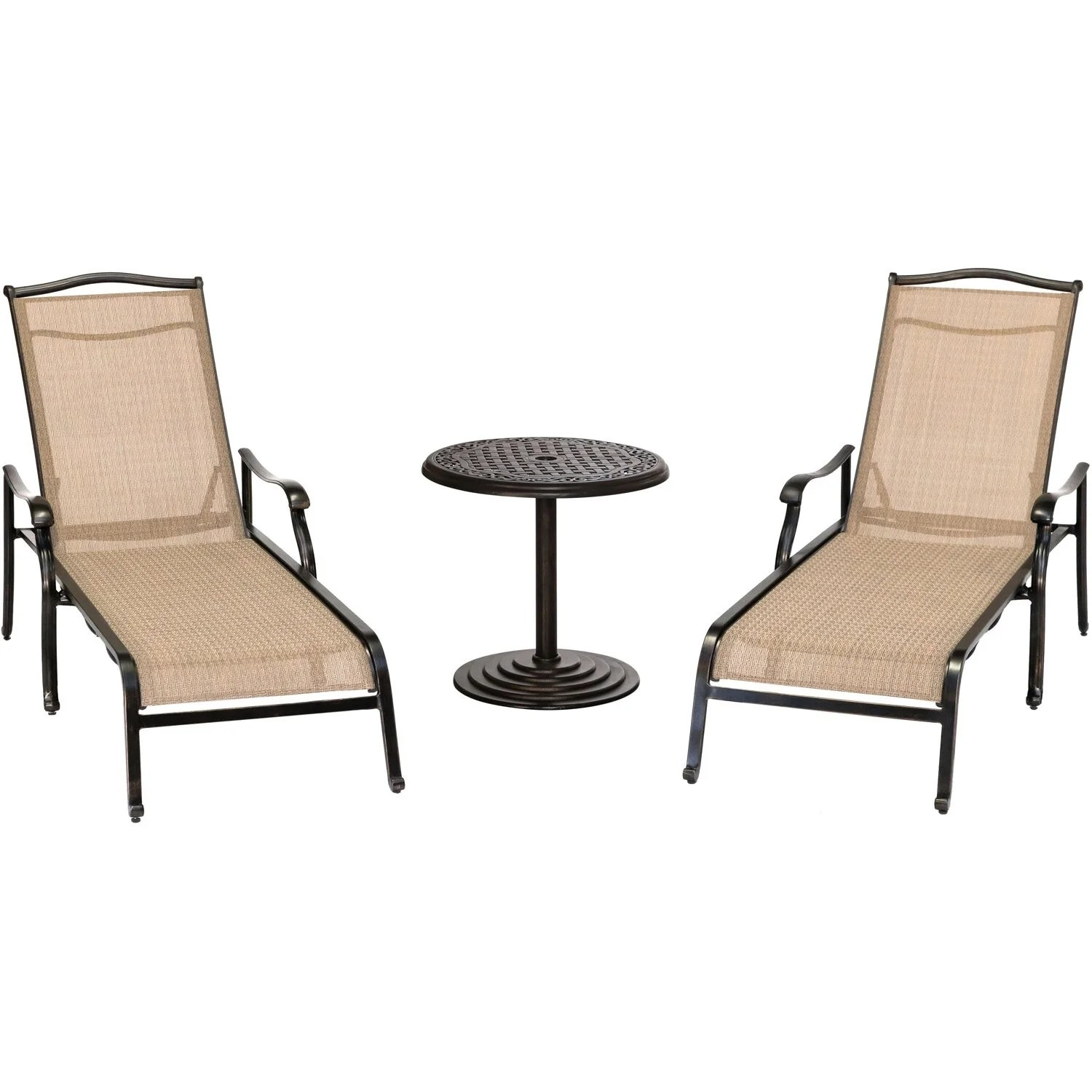 Table 2 Chaises Hanover Monaco 3 Piece Lounge Set With 2 Chaise Lounges And A 25 In Round Cast Top Umbrella Side Table