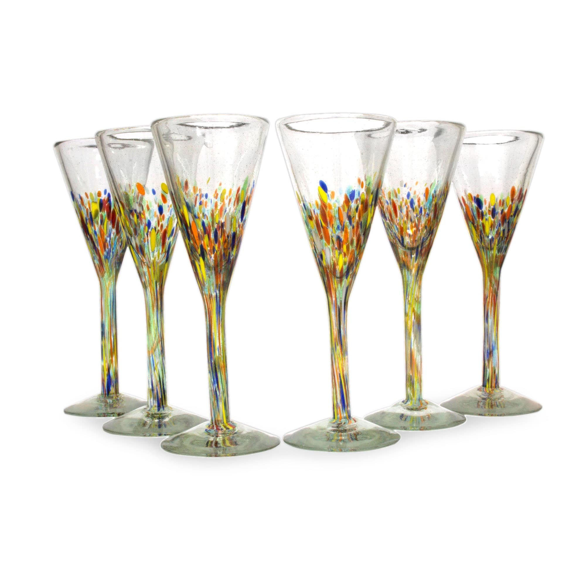 Flute A Champagne Original Handmade 6 Piece Set Of Speckled Barware Unique Confetti Carnival Modern Hand Blown Glass Champagne Flutes Mexico