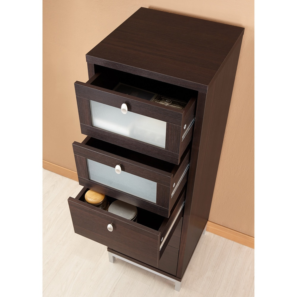 Cabinet Drawers Contemporary Walnut 5 Drawer Storage Cabinet By Foa