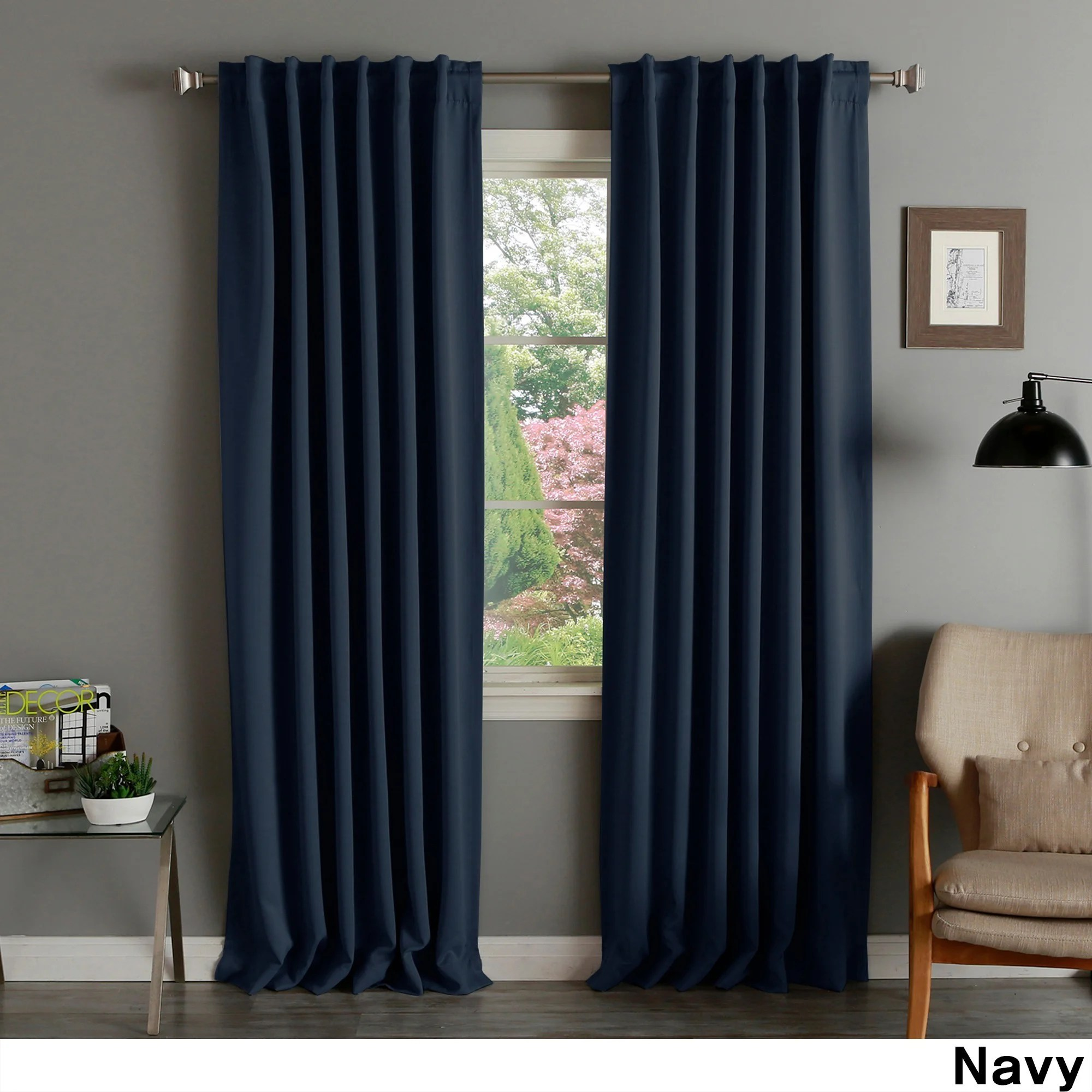 108 Inch Curtain Panels Aurora Home Solid Thermal Insulated 108 Inch Blackout Curtain Panel Pair 52 X 108