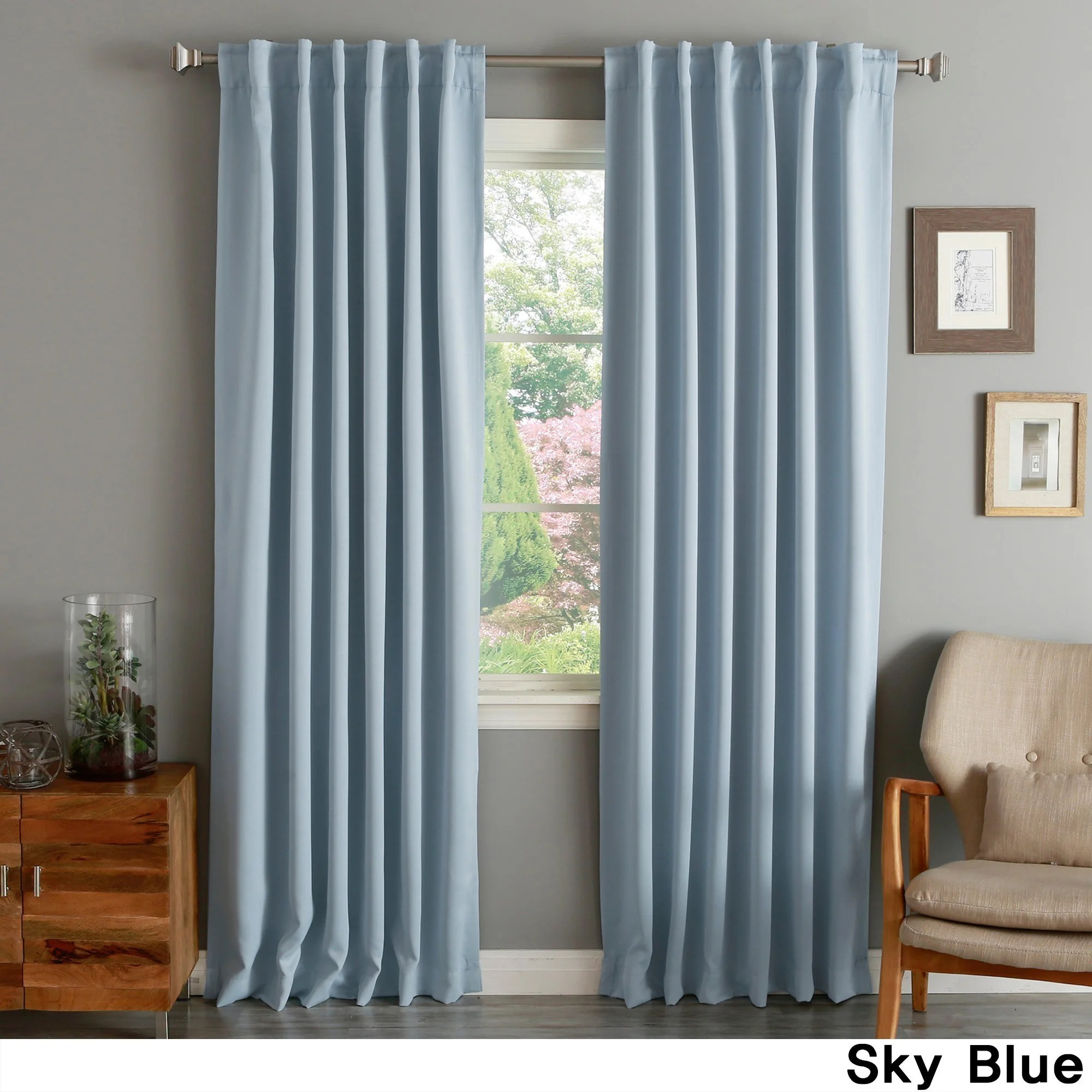 Teal Blackout Curtains Aurora Home Solid Thermal Insulated 108 Inch Blackout Curtain Panel Pair 52 X 108