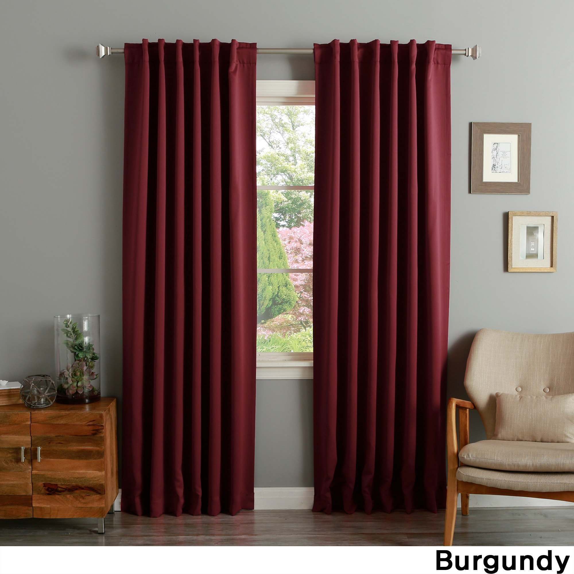 Dark Red Blackout Curtains Aurora Home Solid Thermal Insulated 108 Inch Blackout Curtain Panel Pair 52 X 108