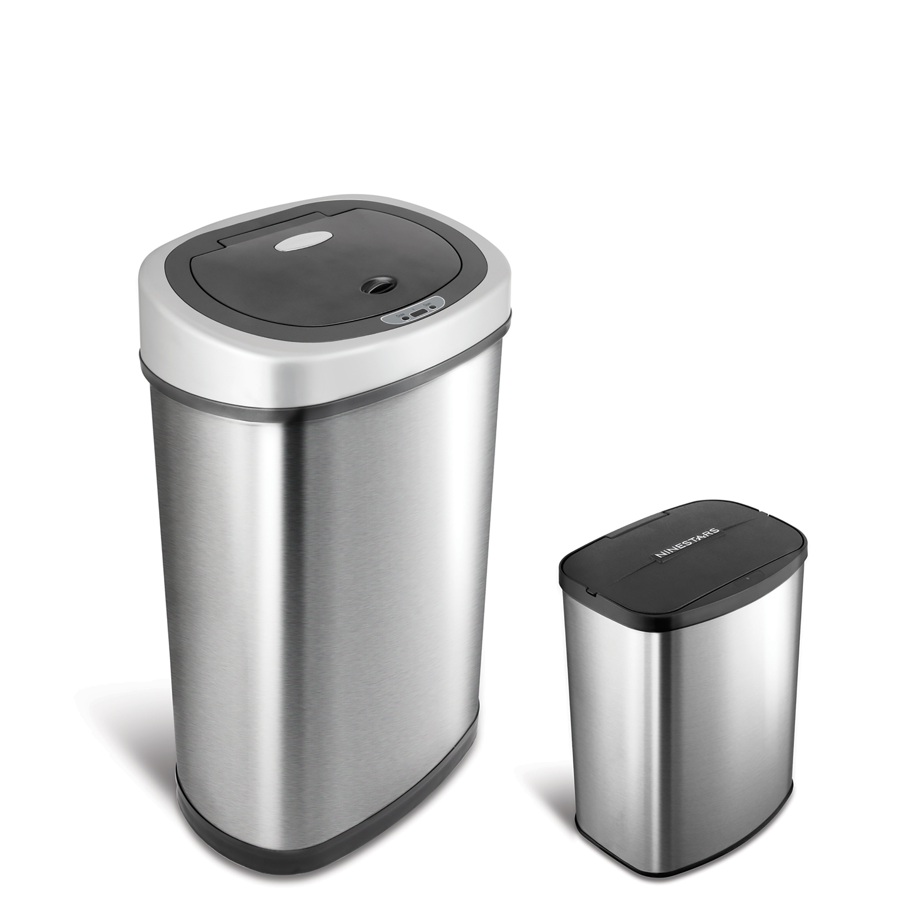 Metal Indoor Trash Can Motion Sensor Stainless Steel 2 In 1 Combo Bathroom Kitchen Trash Can Set