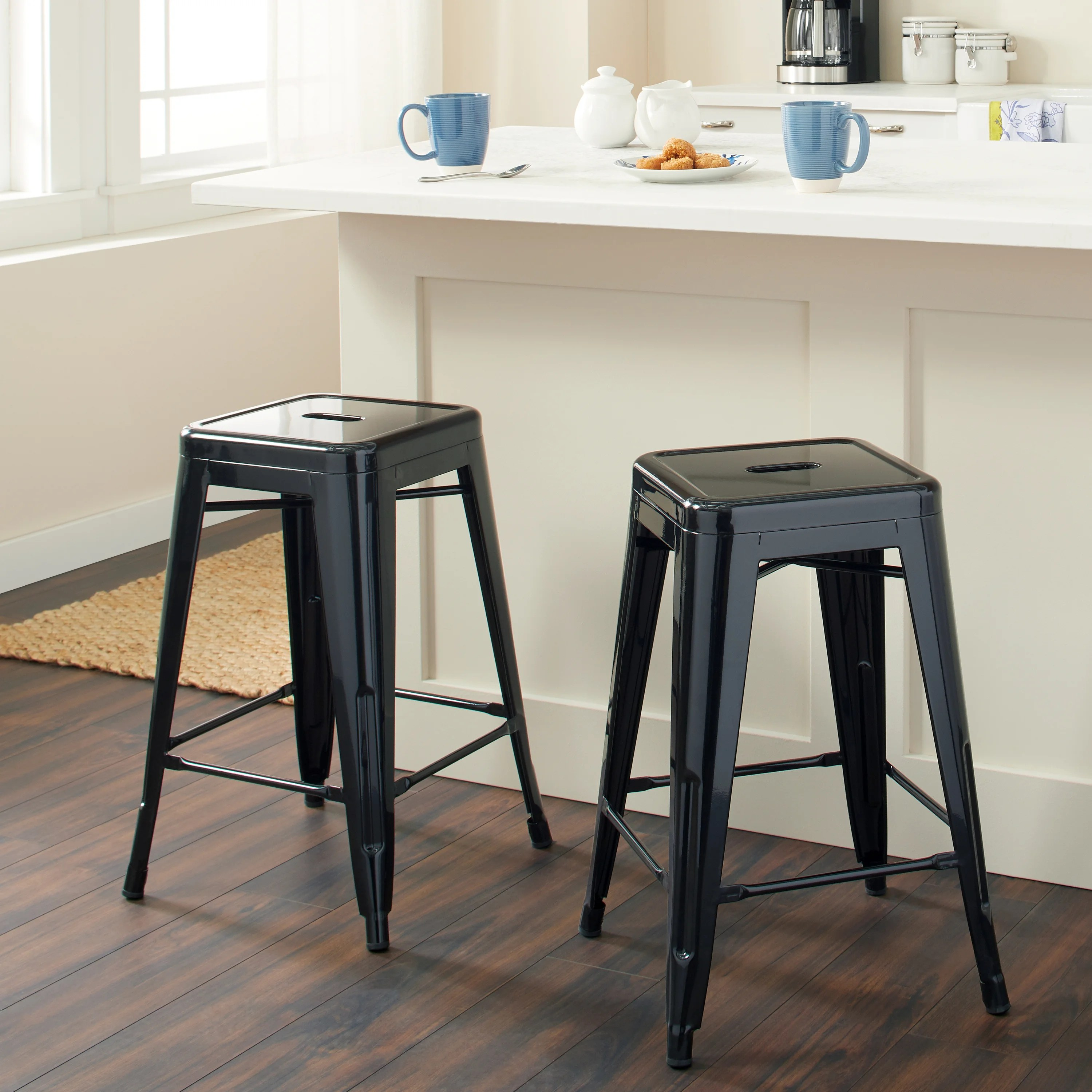 Metal Stools Tabouret 24 Inch Black Metal Counter Stools Set Of 2