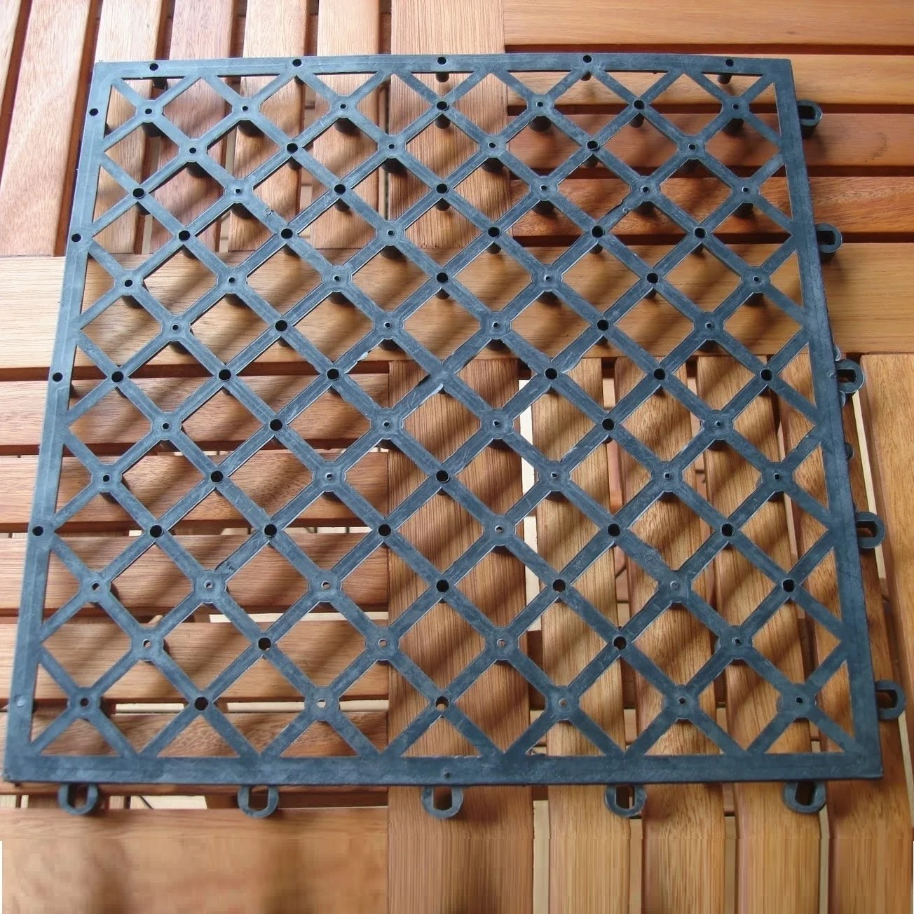 Interlocking Deck Tiles 12 Diagonal Slat Acacia Interlocking Deck Tile Teak Finish Set Of 10 Tiles