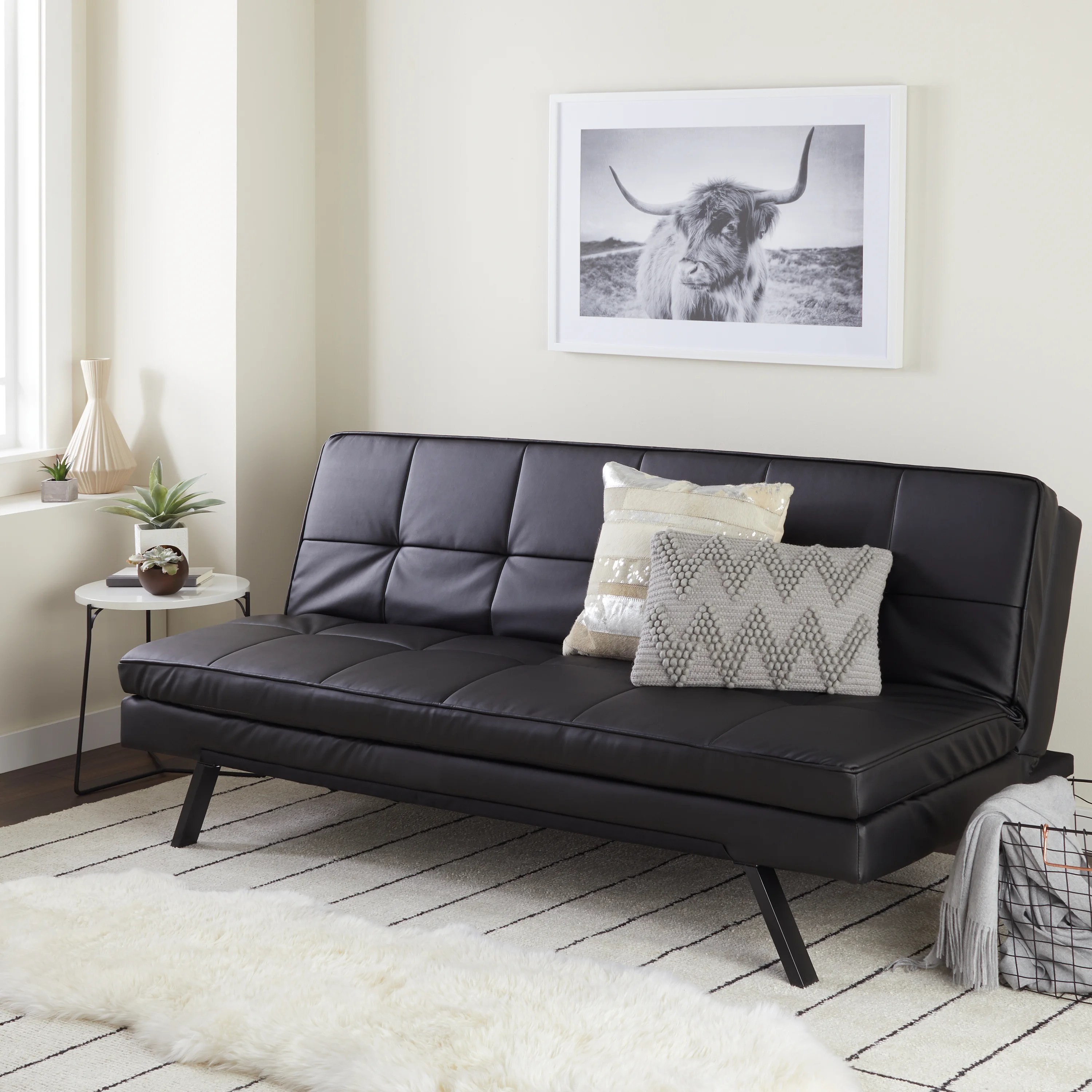 Couches Sleeper Abbyson Newport Faux Leather Futon Sleeper Sofa