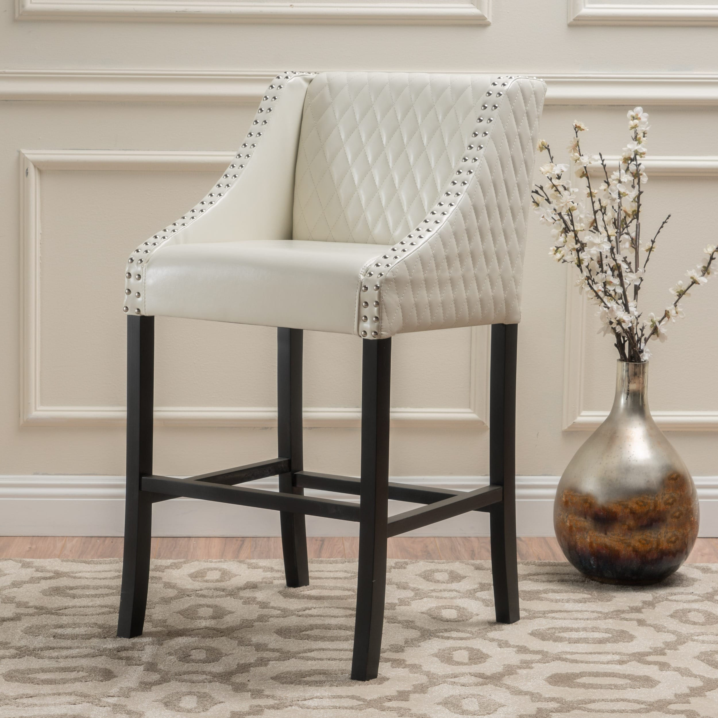 28 Barstools Milano 28 Inch Quilted Ivory Bonded Leather 28 Inch Barstool By Christopher Knight Home