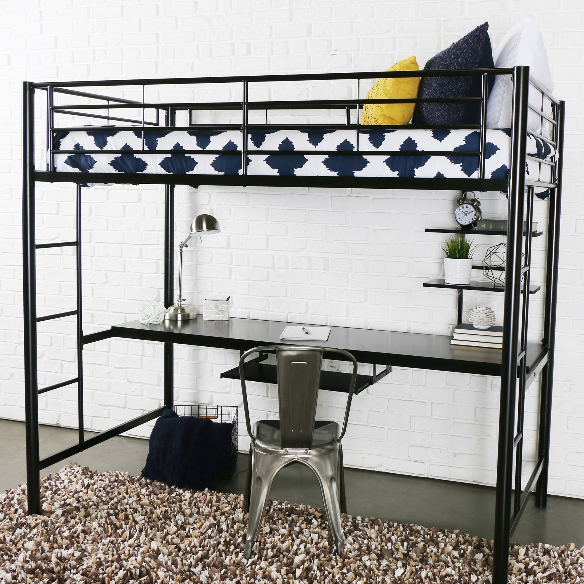 Bed With Desk Taylor Olive Abner Black Metal Twin Loft Bed With Desk