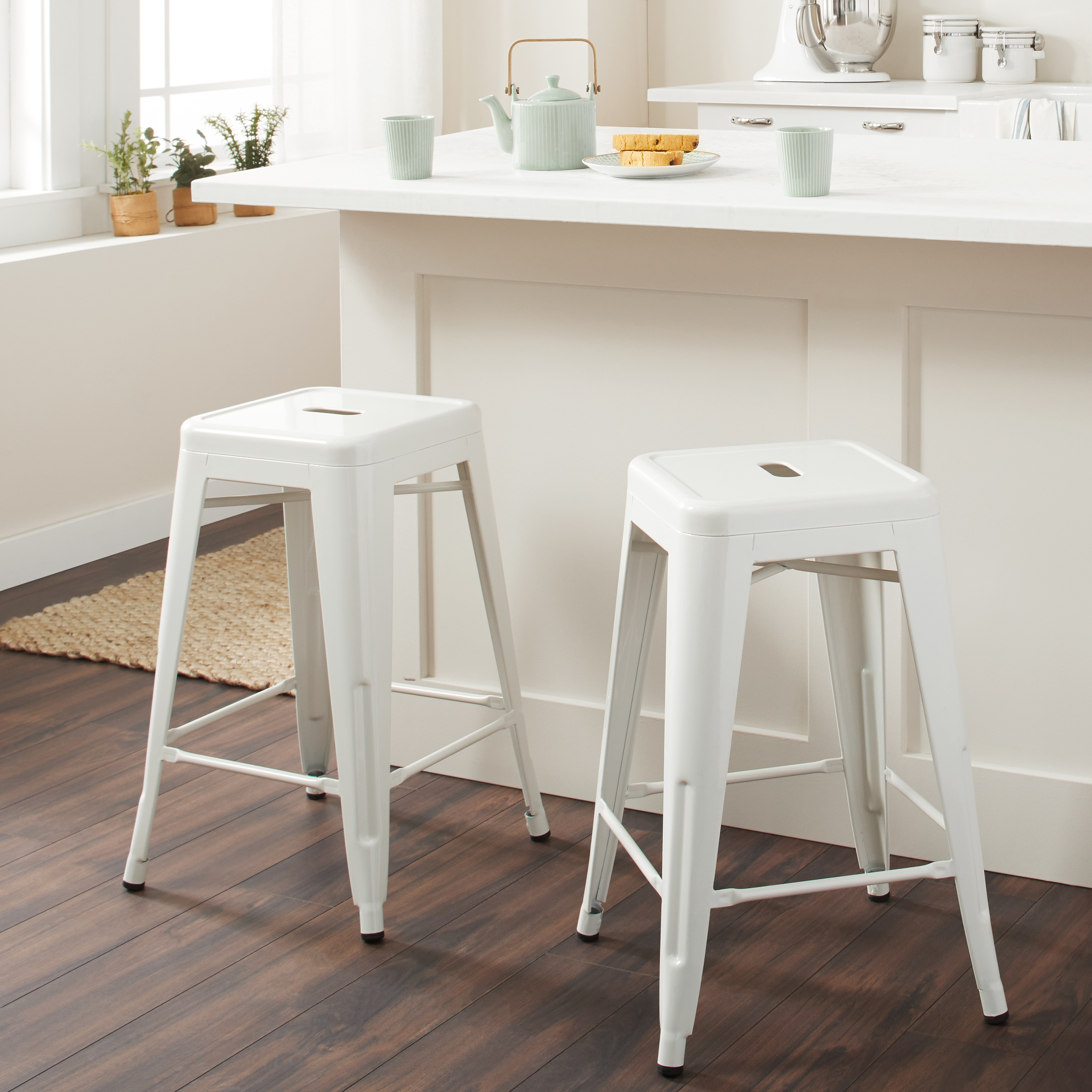 Table And Bar Stools Tabouret 24 Inch White Metal Counter Stools Set Of 2