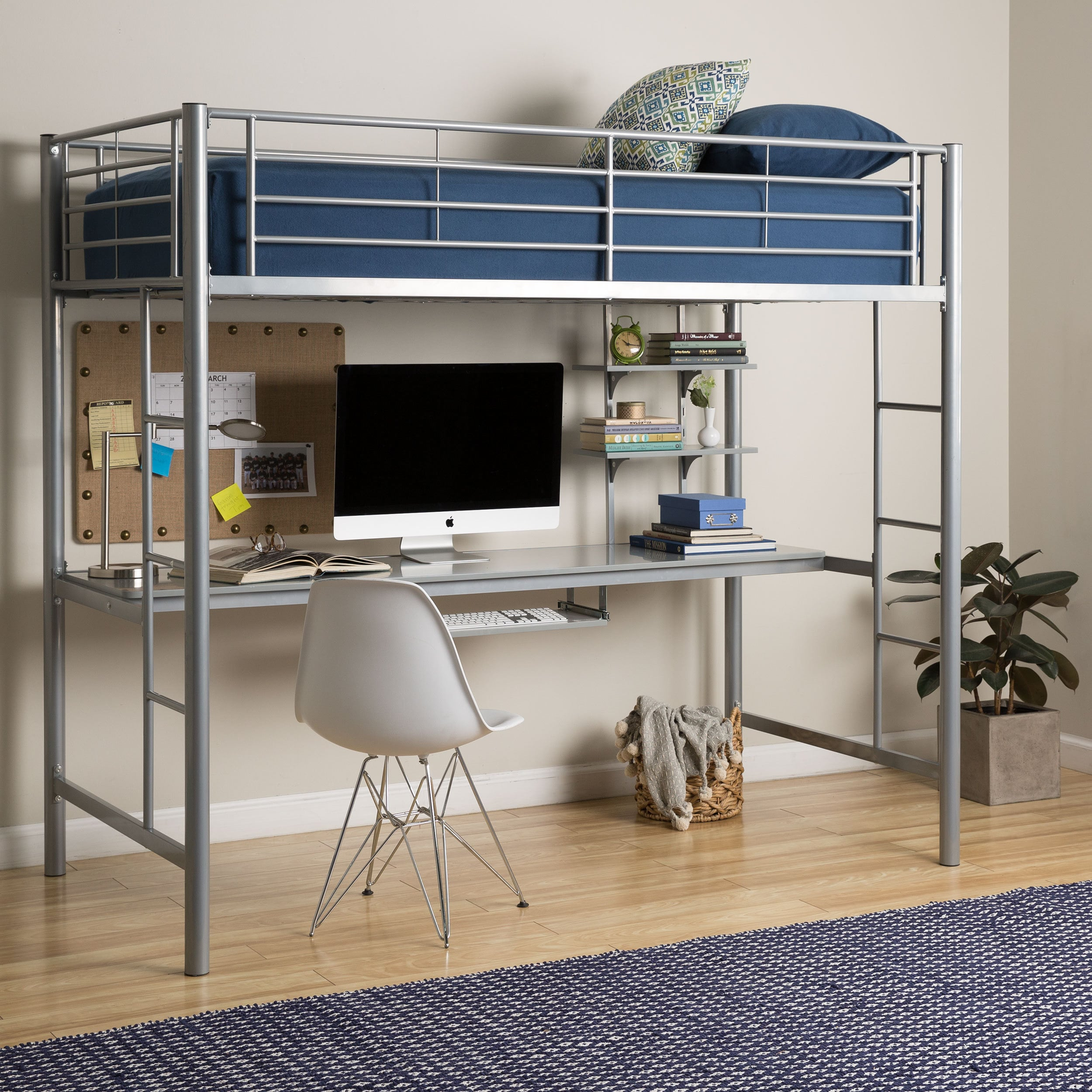 Bed With Desk Taylor Olive Abner Twin Metal Loft Bed With Desk Silver