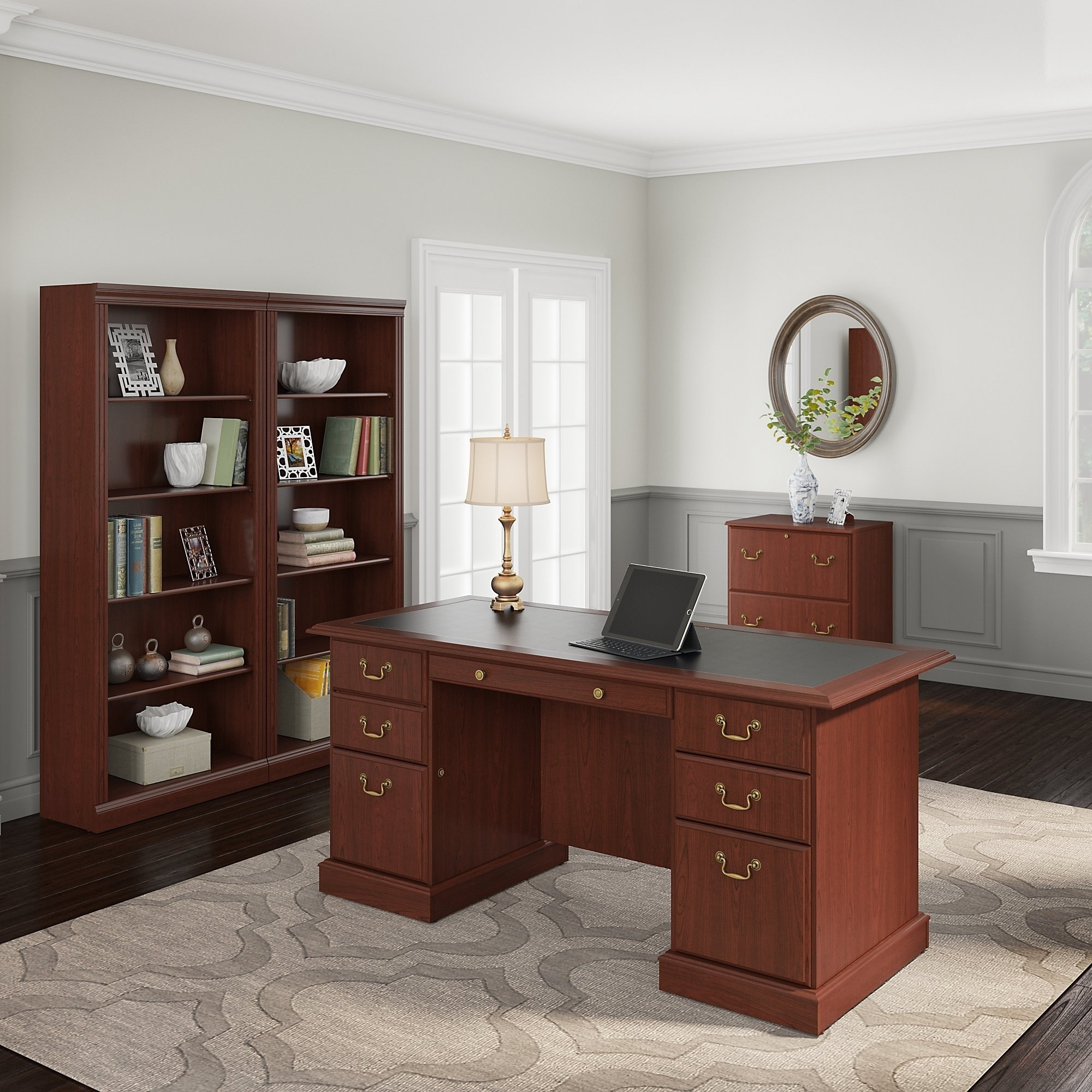 Desk With File Cabinet Copper Grove Dobrich Executive Desk Lateral File Cabinet And Two 5 Shelf Bookcases In Cherry
