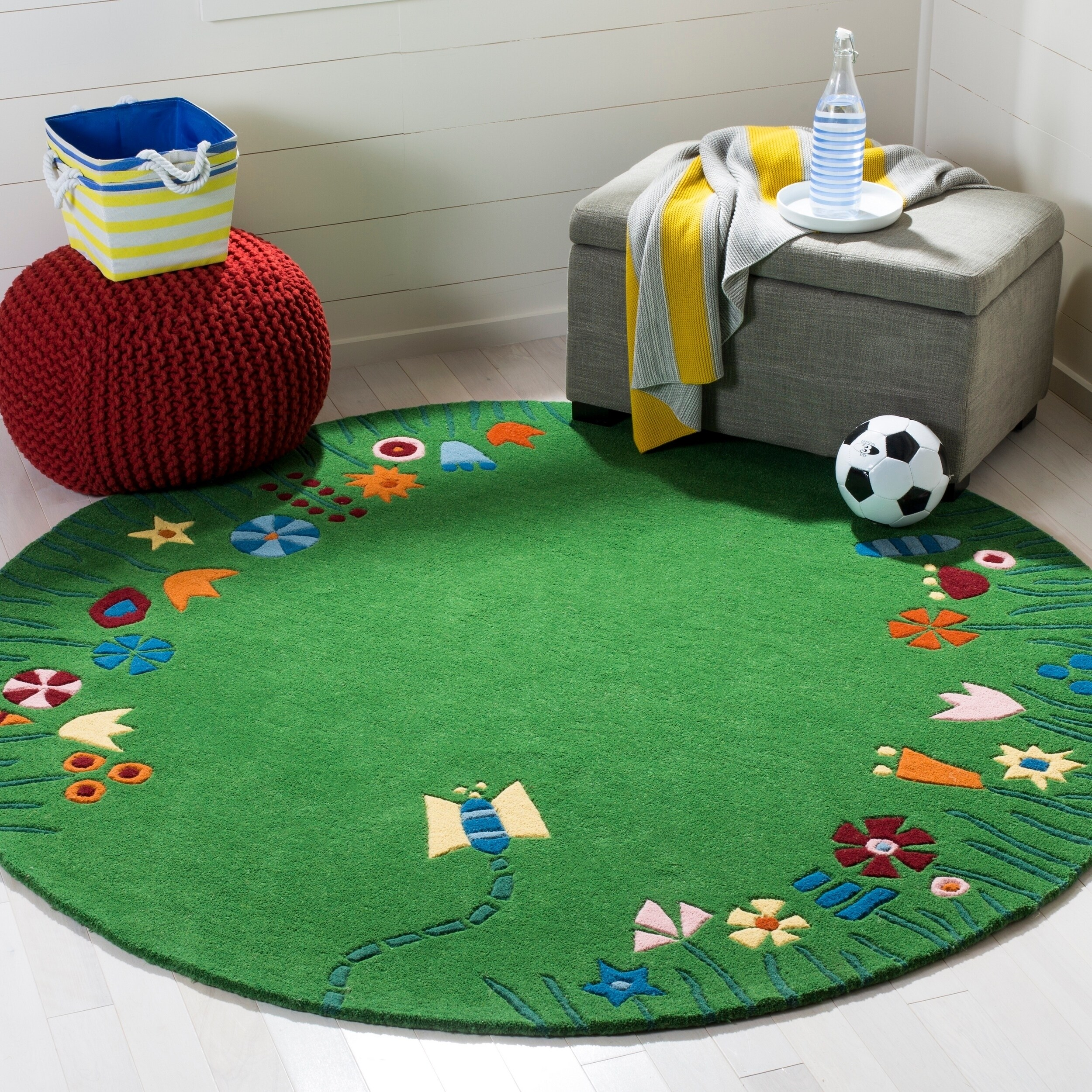 Children's Floor Rugs Safavieh Handmade Children S Summer Grass Green N Z Wool Rug 4 X 4 Round