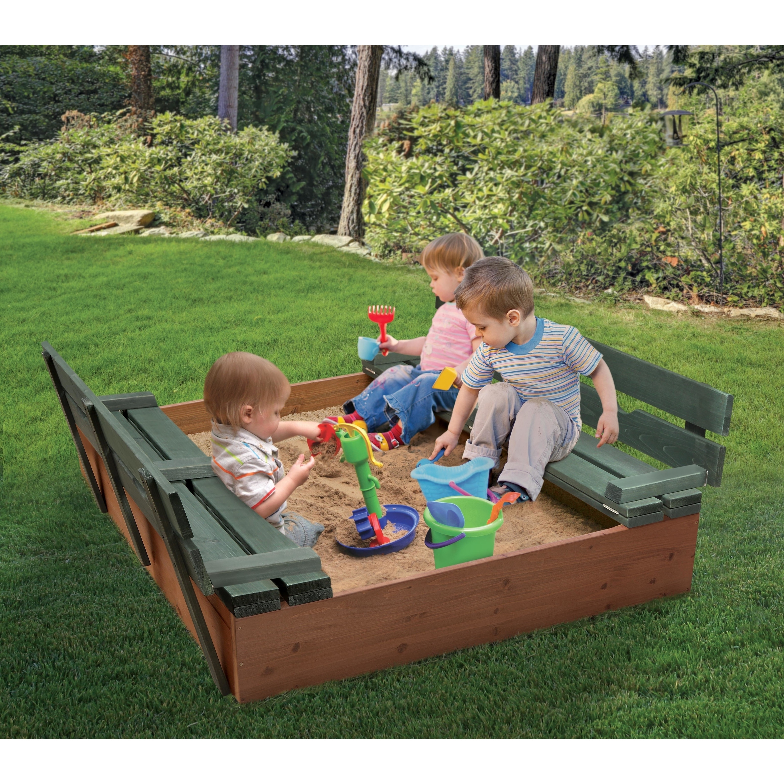 Big W Sand Pit Badger Basket Covered Convertible Cedar Sandbox With Two Bench Seats