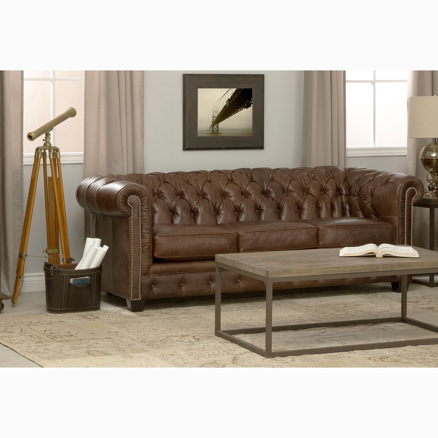 Chesterfield Sofa Japan Hancock Tufted Brown Leather Chesterfield Sofa