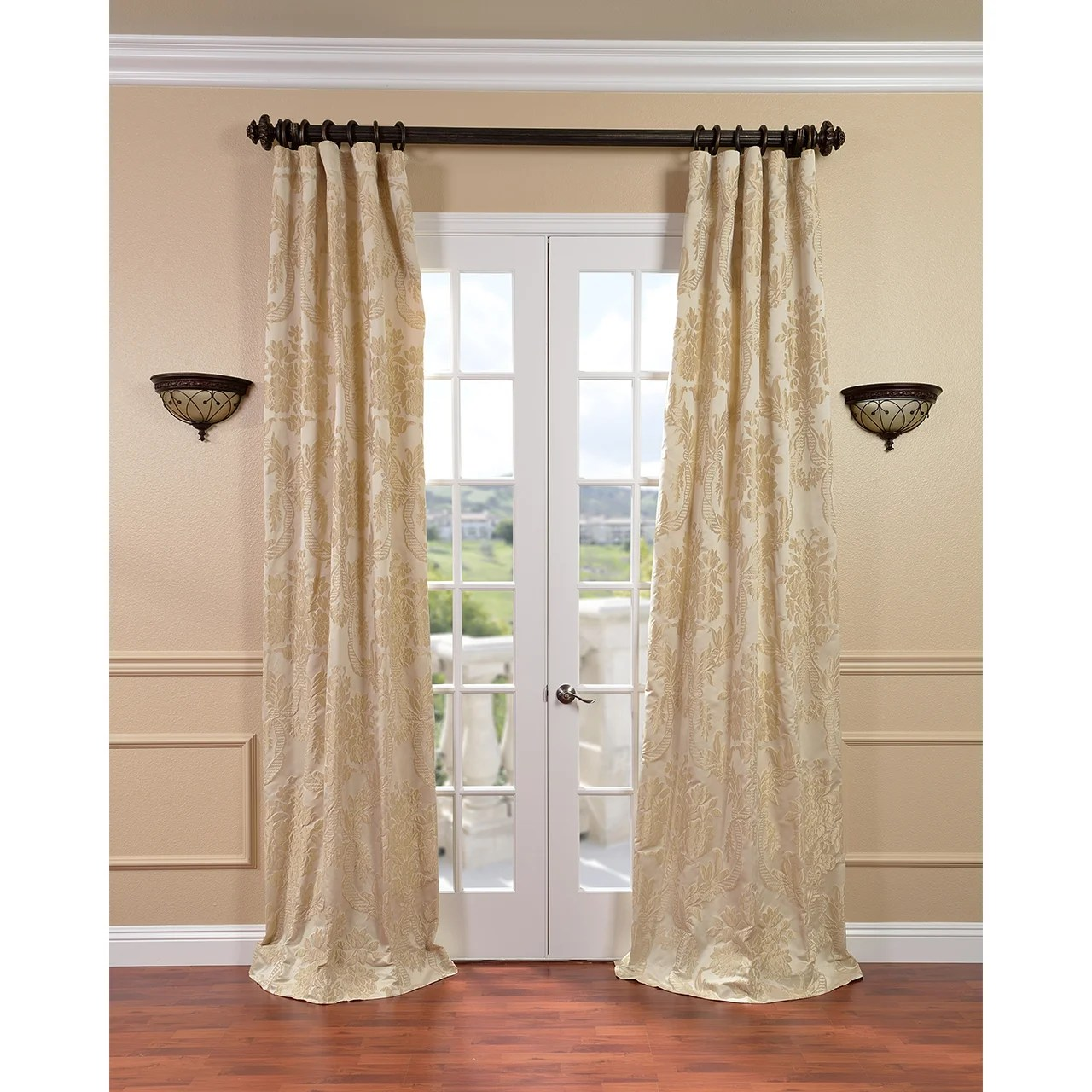 Jacquard Curtains Exclusive Fabrics Magdelena Champagne Faux Silk Jacquard Curtain Panel