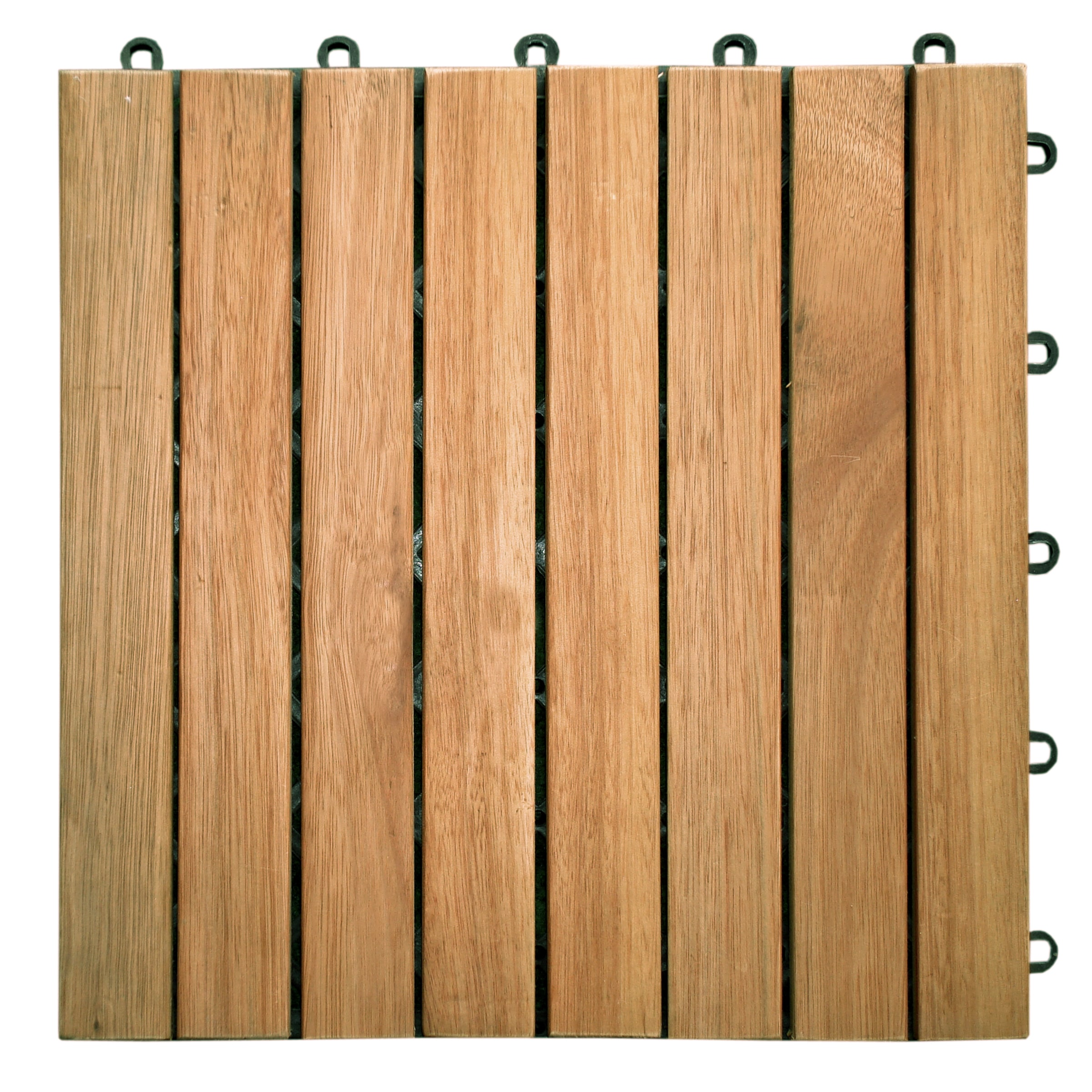 Interlocking Deck Tiles Vifah Premier Teak Finished Acacia 8 Slat Interlocking Deck Tiles Set Of 10