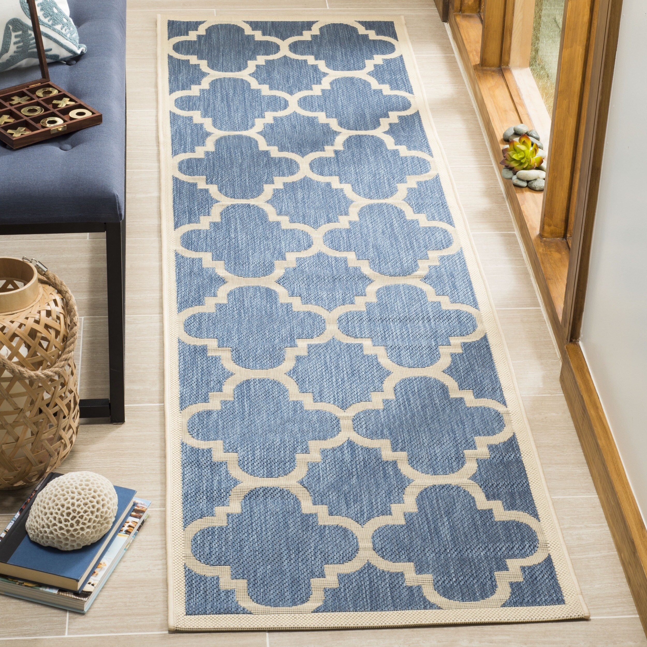 Safavieh Courtyard Safavieh Courtyard Quatrefoil Blue Beige Indoor Outdoor Rug