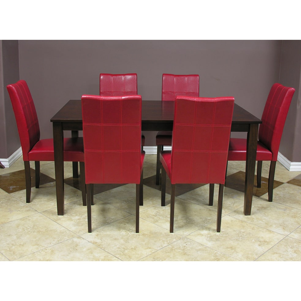 Warehouse Table Warehouse Of Tiffany Evellen Red 7 Piece Dining Table And Chairs Set
