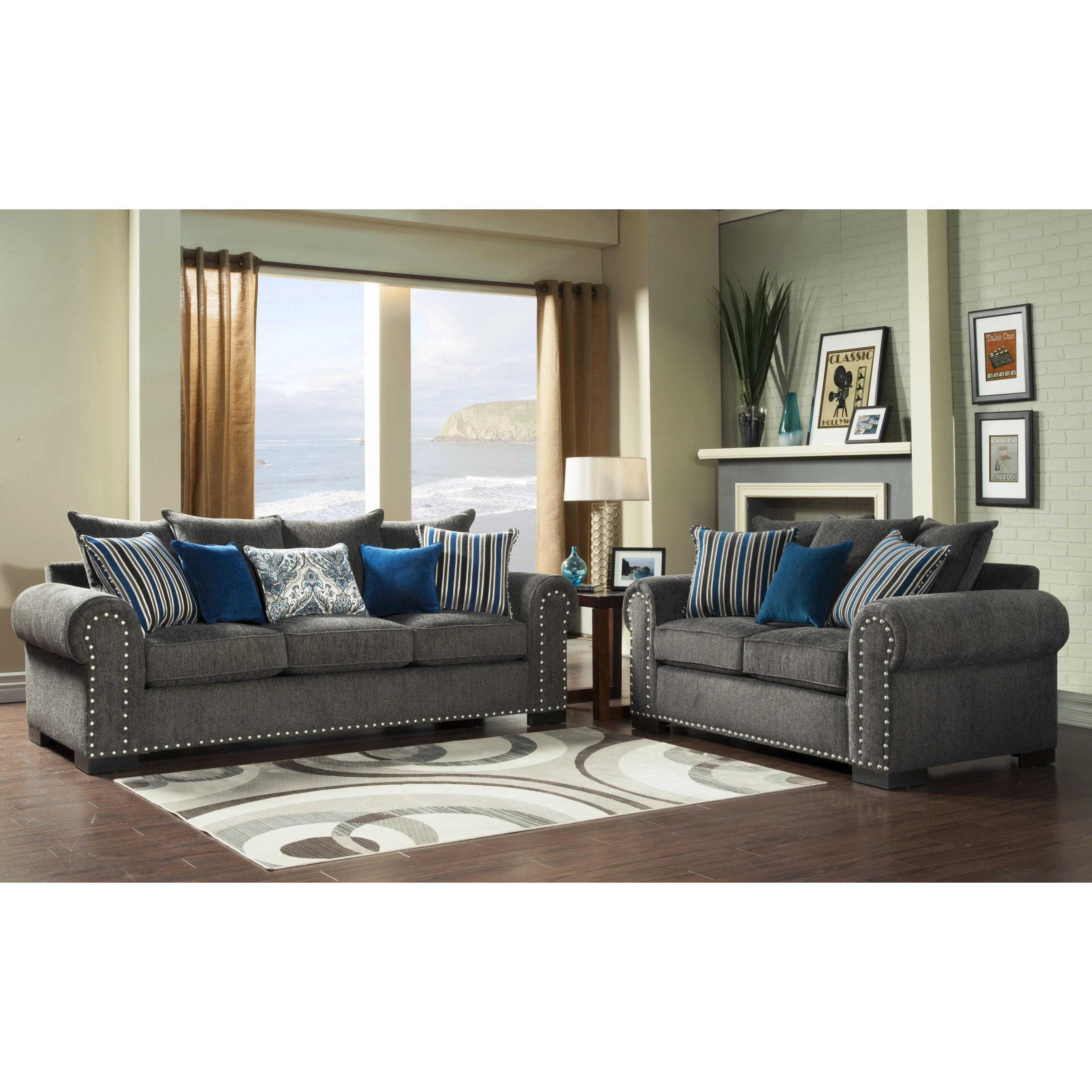 Sofa Set Action Furniture Of America Ivy Grey Blue Modern 2 Piece Sofa Love Set
