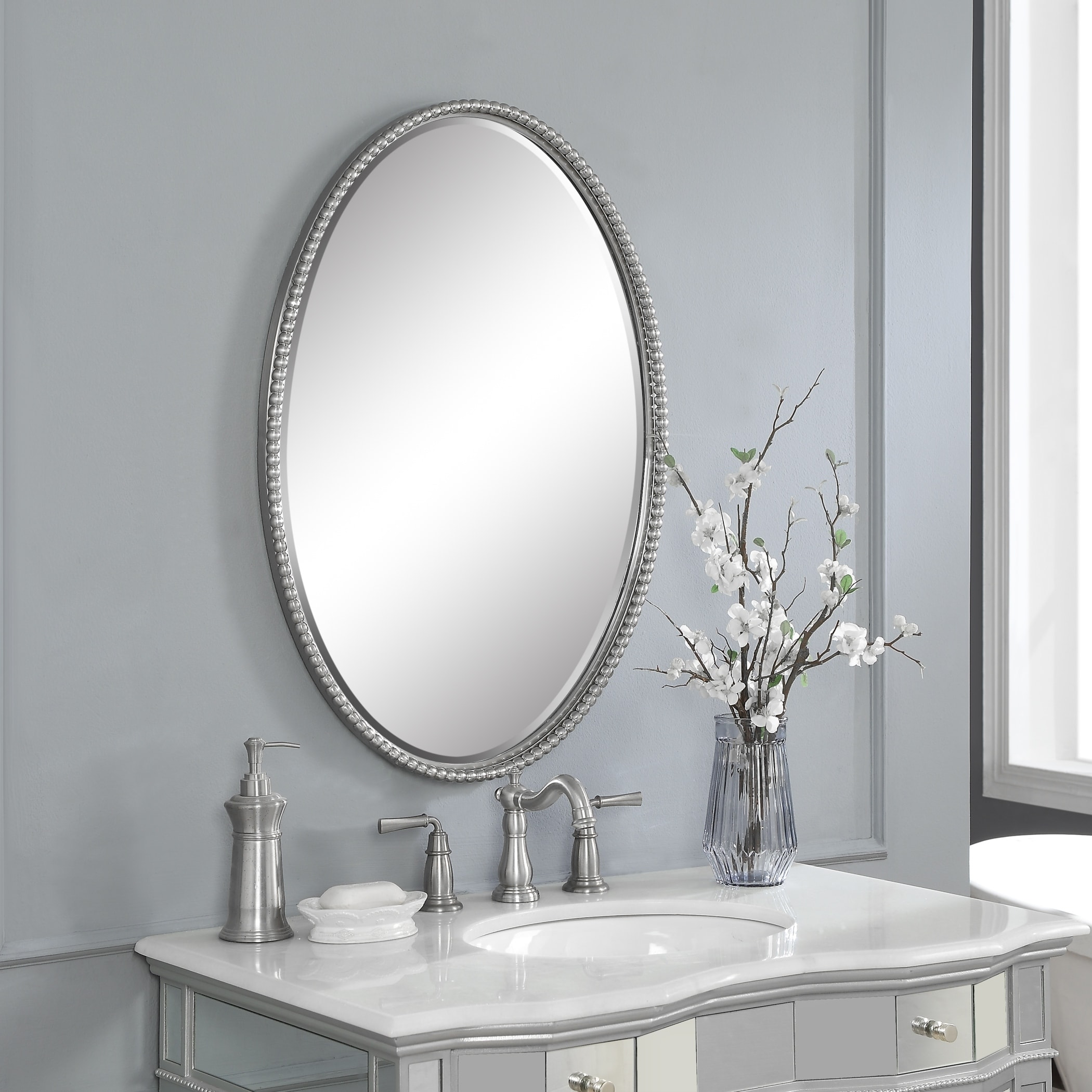 Uttermost Sherise Brushed Nickel Oval Mirror Brushed Nickel 22x32x1 75 Overstock 7896858