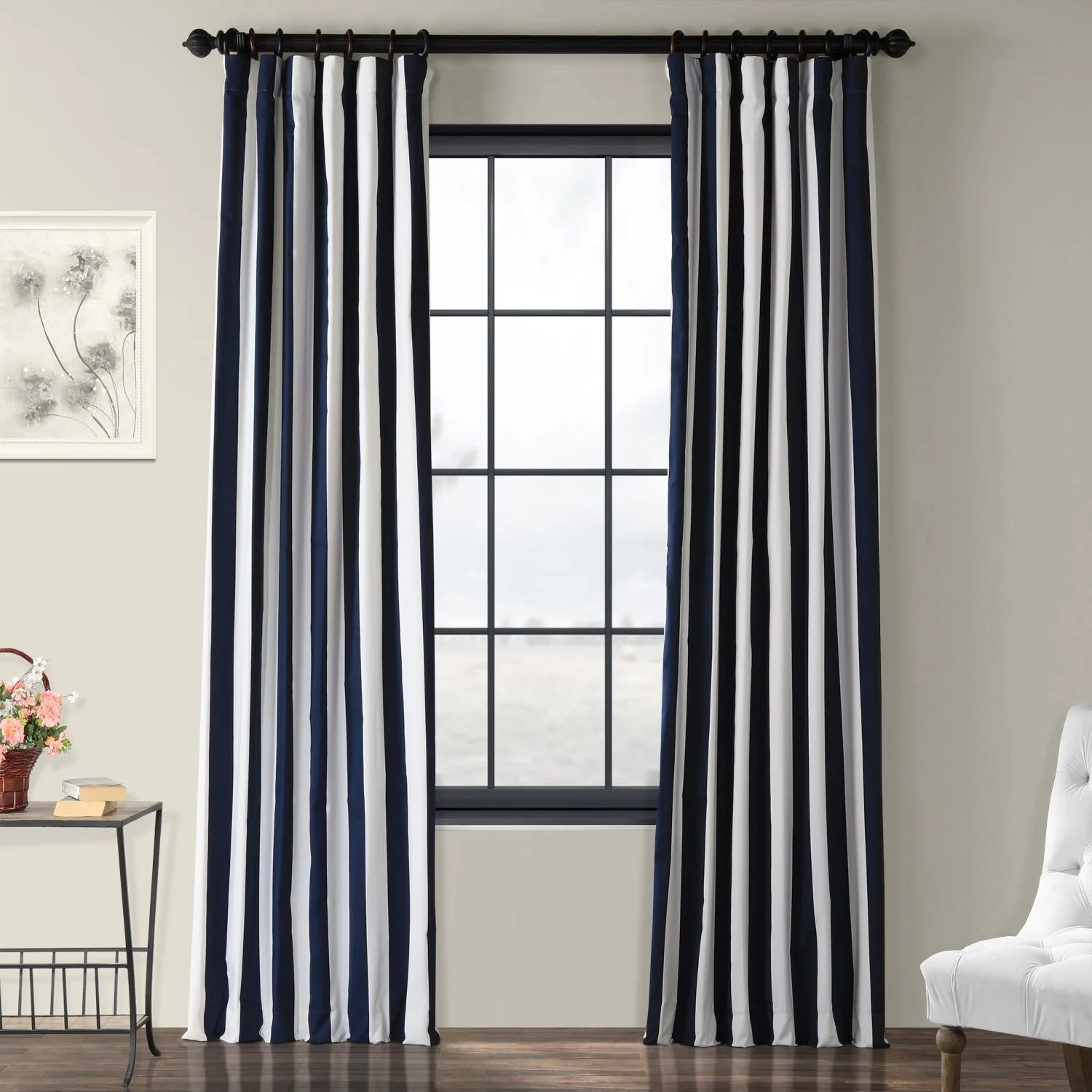 Cotton Curtain Panels Exclusive Fabrics Cabana Navy Stripe Cotton Curtain Panel