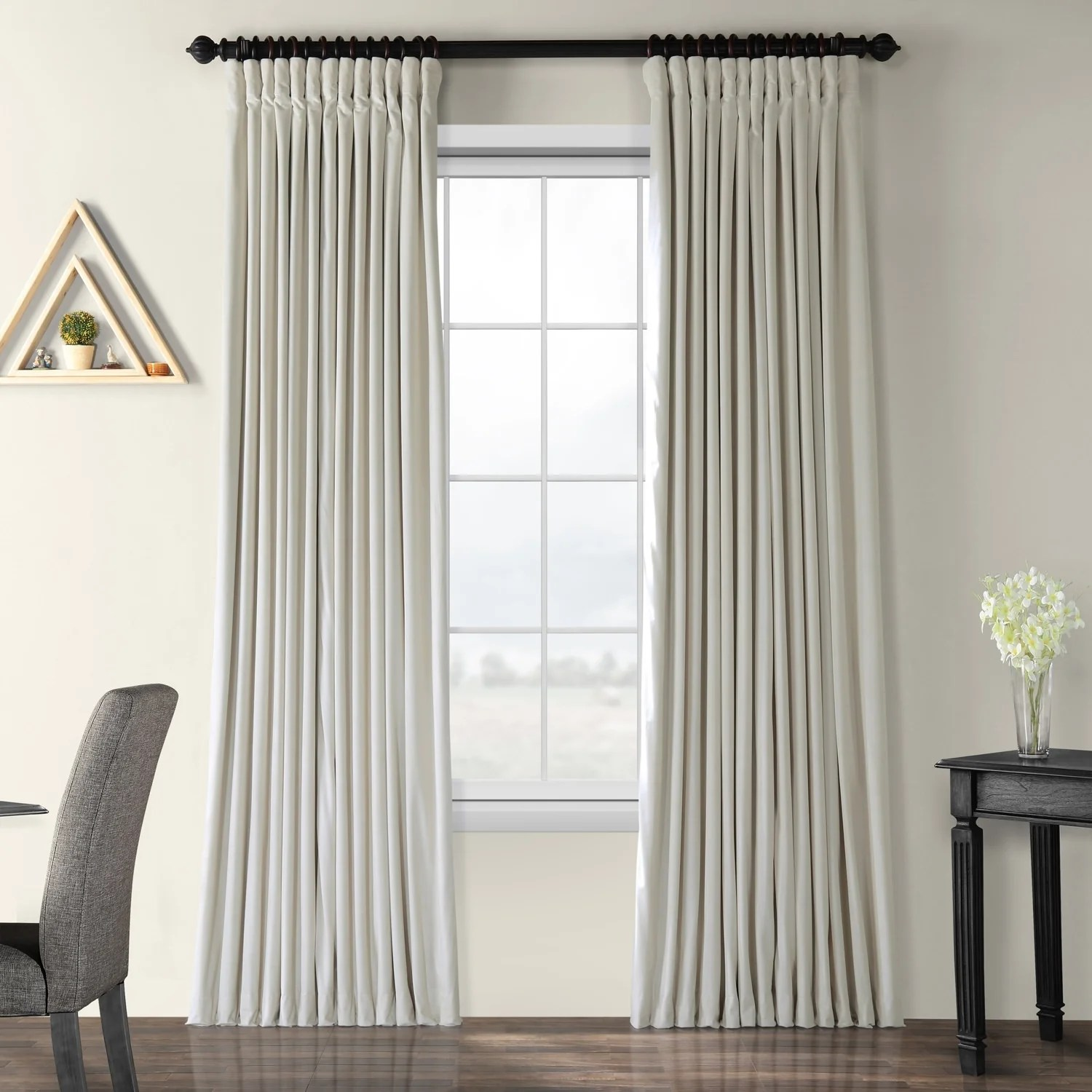 Double Wide Curtain Panels Exclusive Fabrics Off White Velvet Blackout Extra Wide Curtain Panel