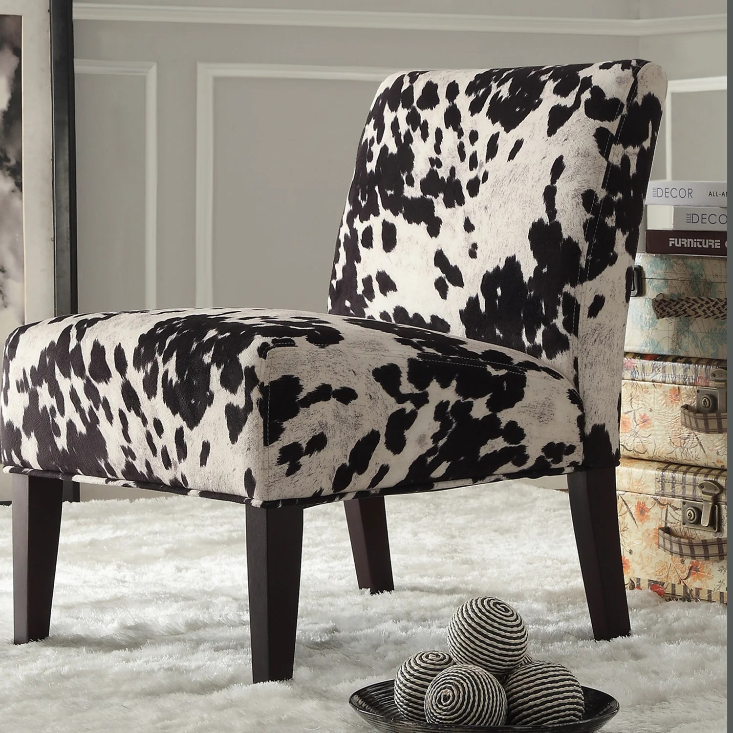 Black And White Accent Chair Black And White Faux Cow Hide Fabric Accent Chair By Inspire Q Bold