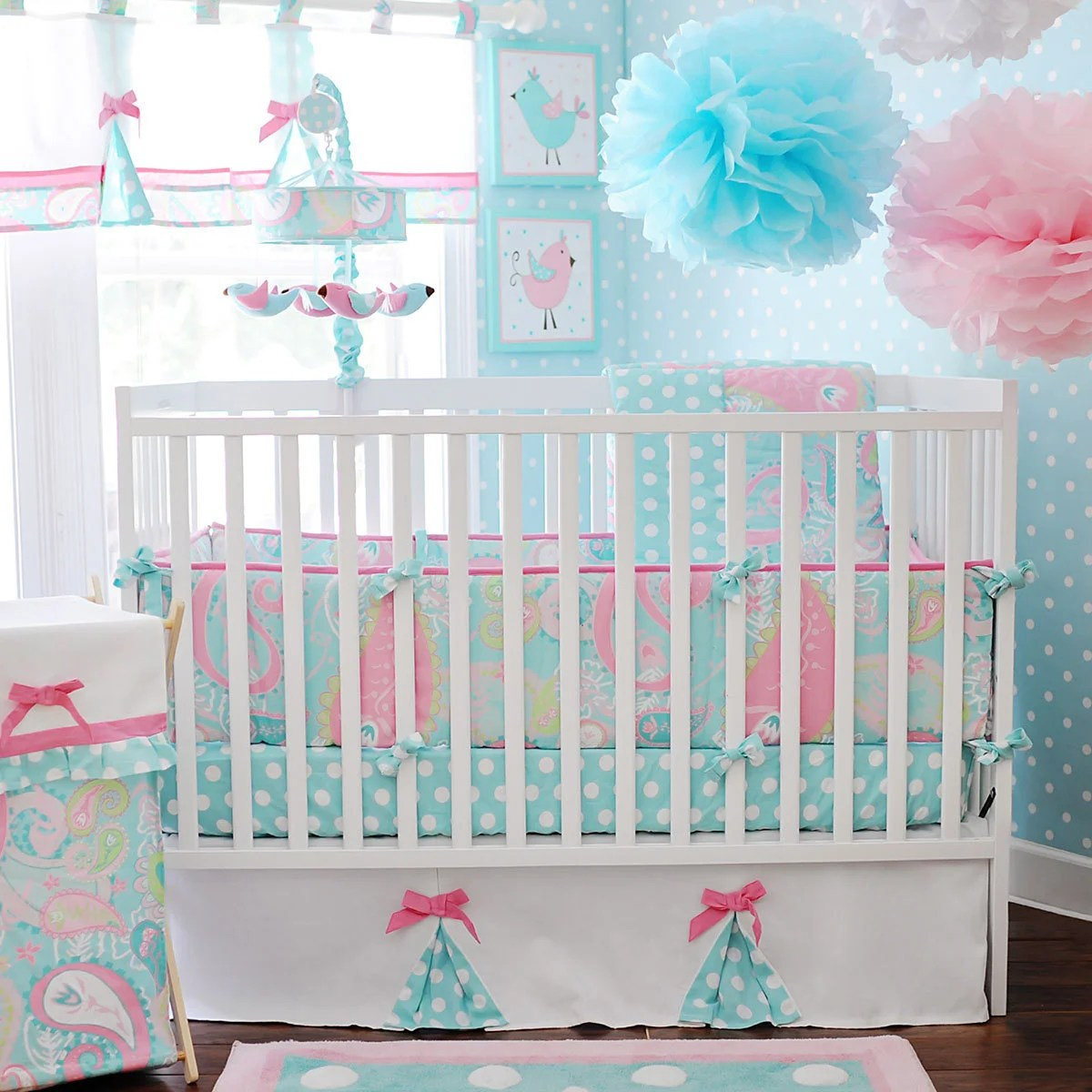 Full Crib Bedding Sets My Baby Sam Pixie Baby In Aqua 3 Piece Crib Bedding Set