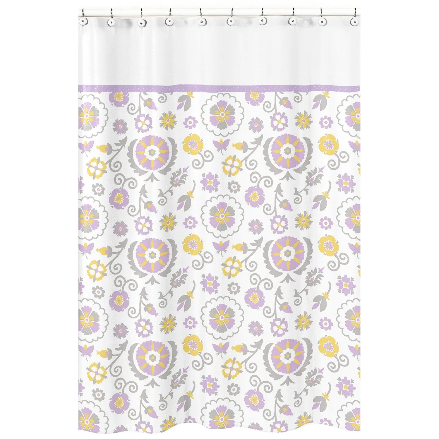 Lavender Shower Curtains Sweet Jojo Designs Suzanna Lavender And White Shower Curtain