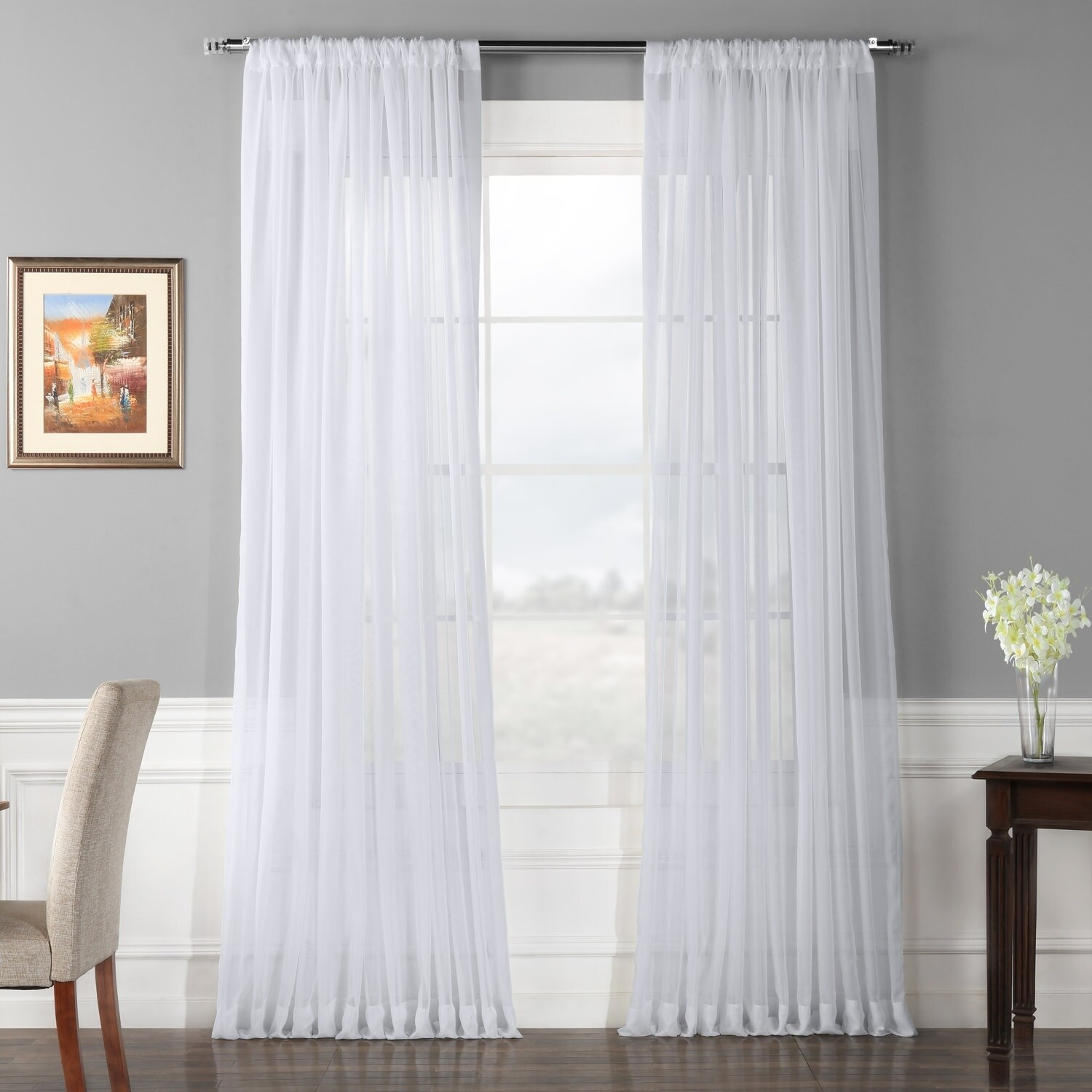 Double Wide Curtain Panels Exclusive Fabrics Extra Wide White Voile Sheer Curtain Panel