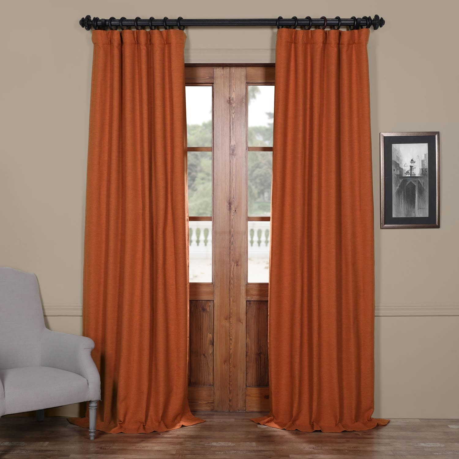 Orange Curtain Panels Exclusive Fabrics Persimmon Bellino Blackout Curtain Panel